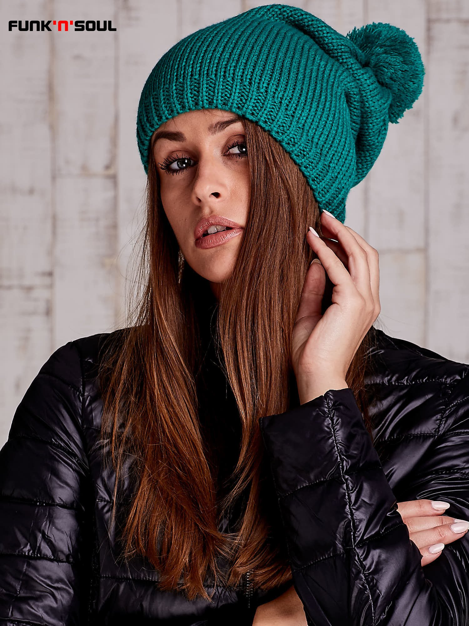 Zielona czapka z polarową wyściółką FUNK N SOUL                                  zdj.                                  1