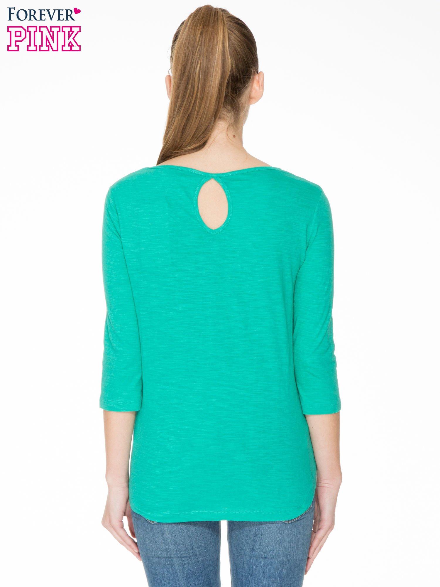 Zielona gładka bluzka z łezką z tyłu                                  zdj.                                  4