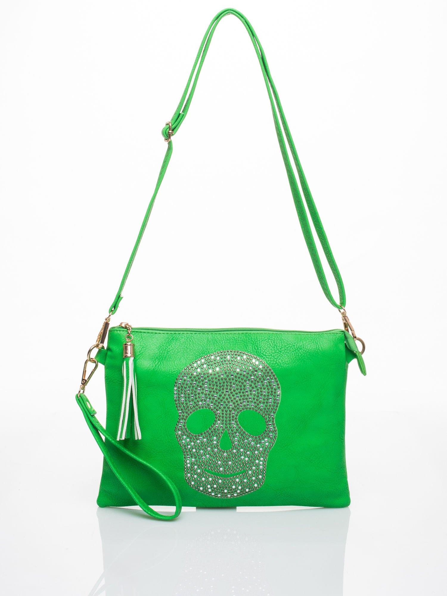 Zielona kopertówka z dżetami motyw czaszki                                  zdj.                                  3