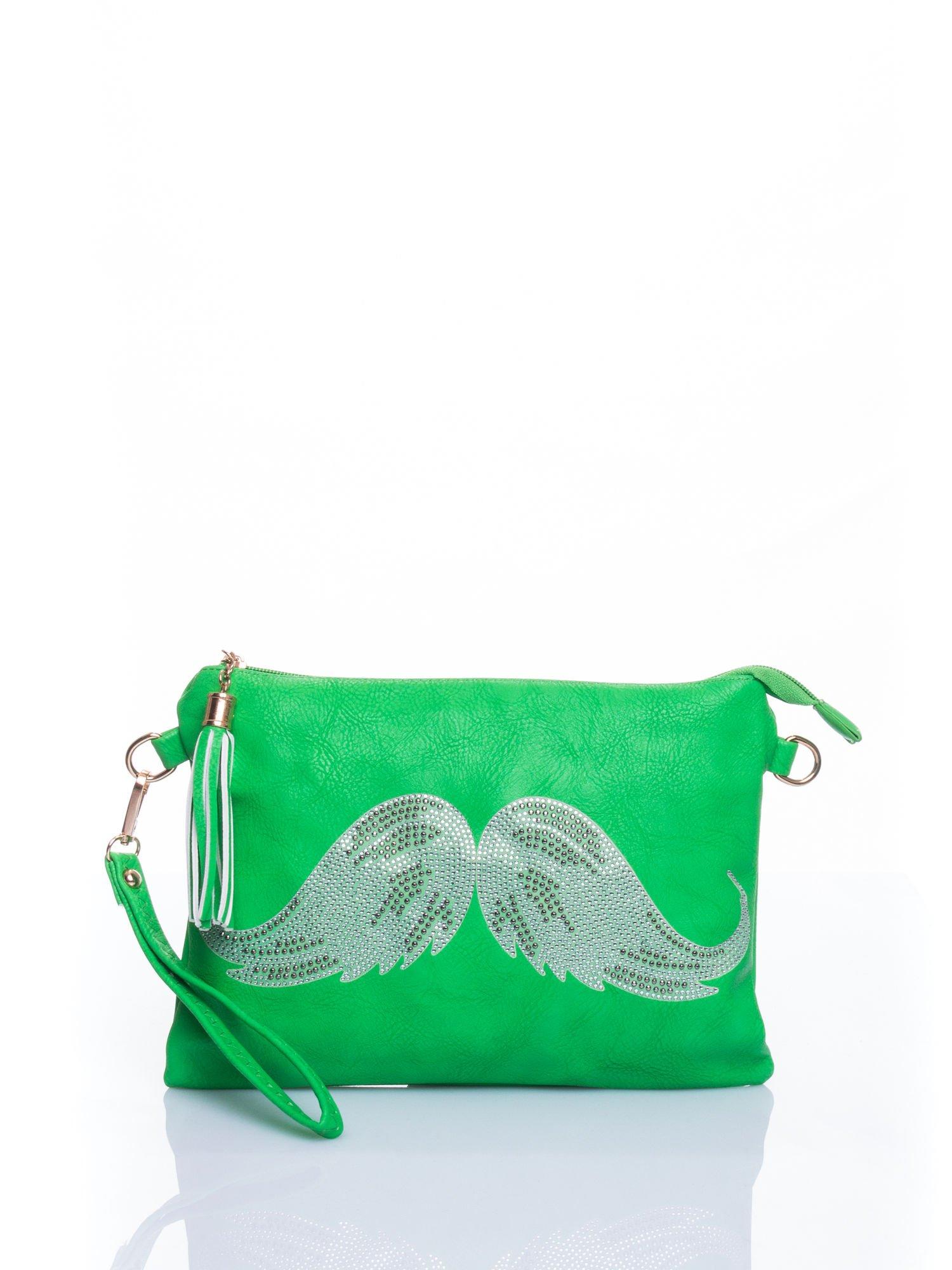 Zielona kopertówka z dżetami motyw wąsów                                  zdj.                                  1