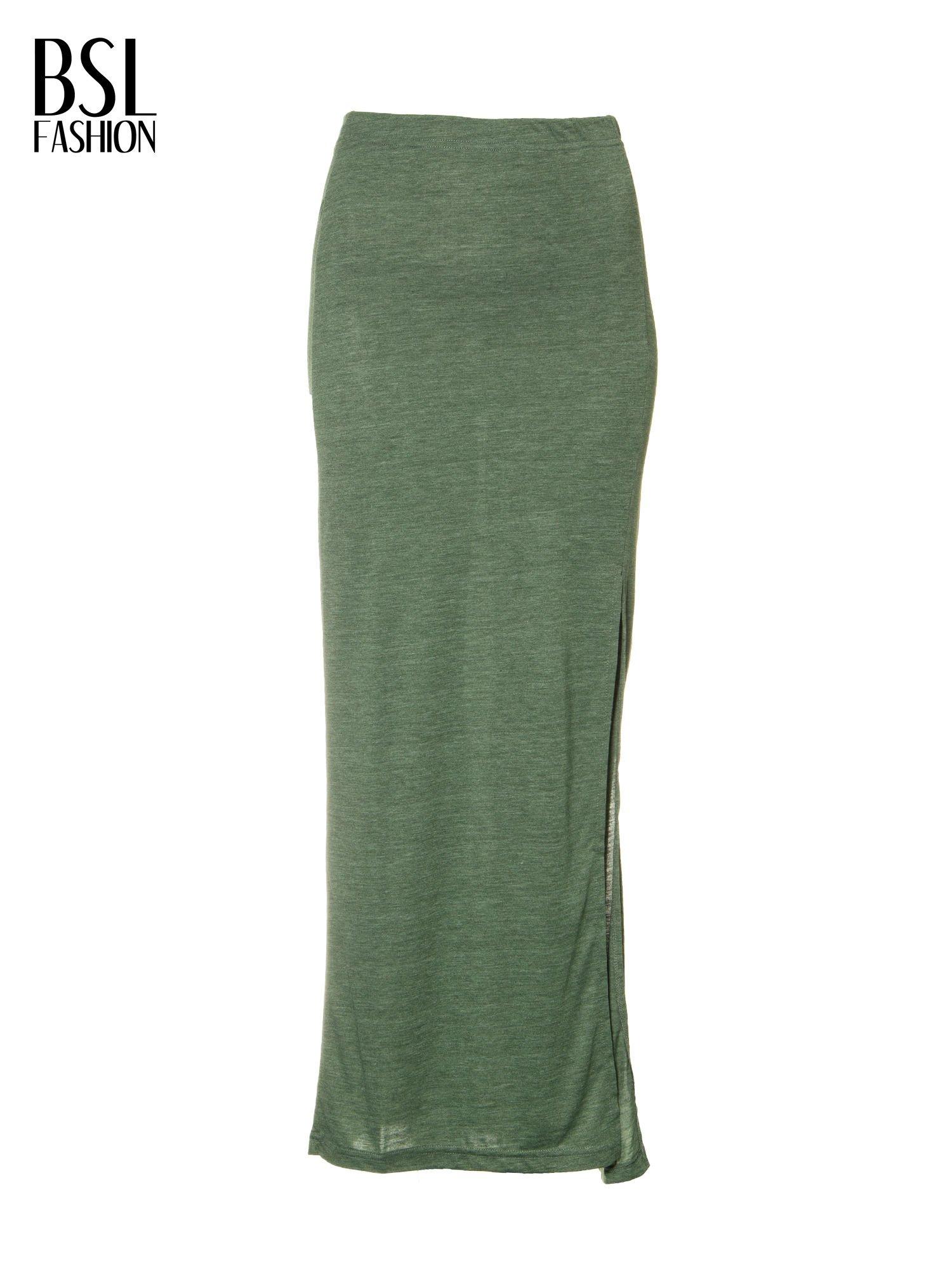 Zielona melanżowa spódnica maxi z rozcięciem                                  zdj.                                  4