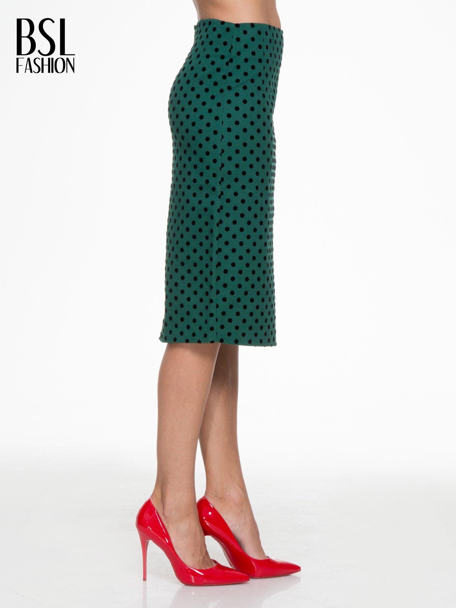 Zielona ołówkowa spódnica w groszki                                  zdj.                                  3