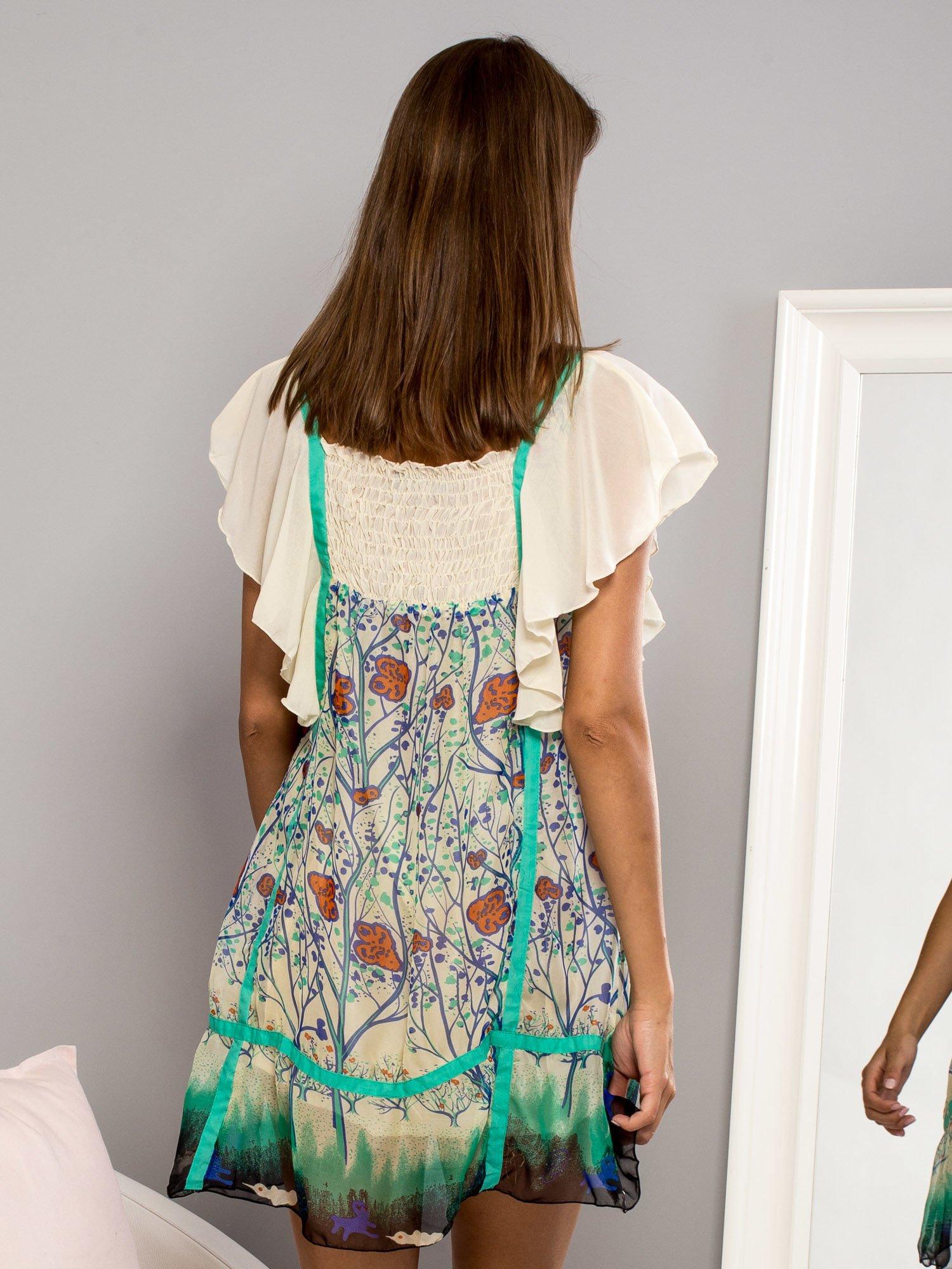 Zielona sukienka baby doll w kwiatki                                  zdj.                                  3