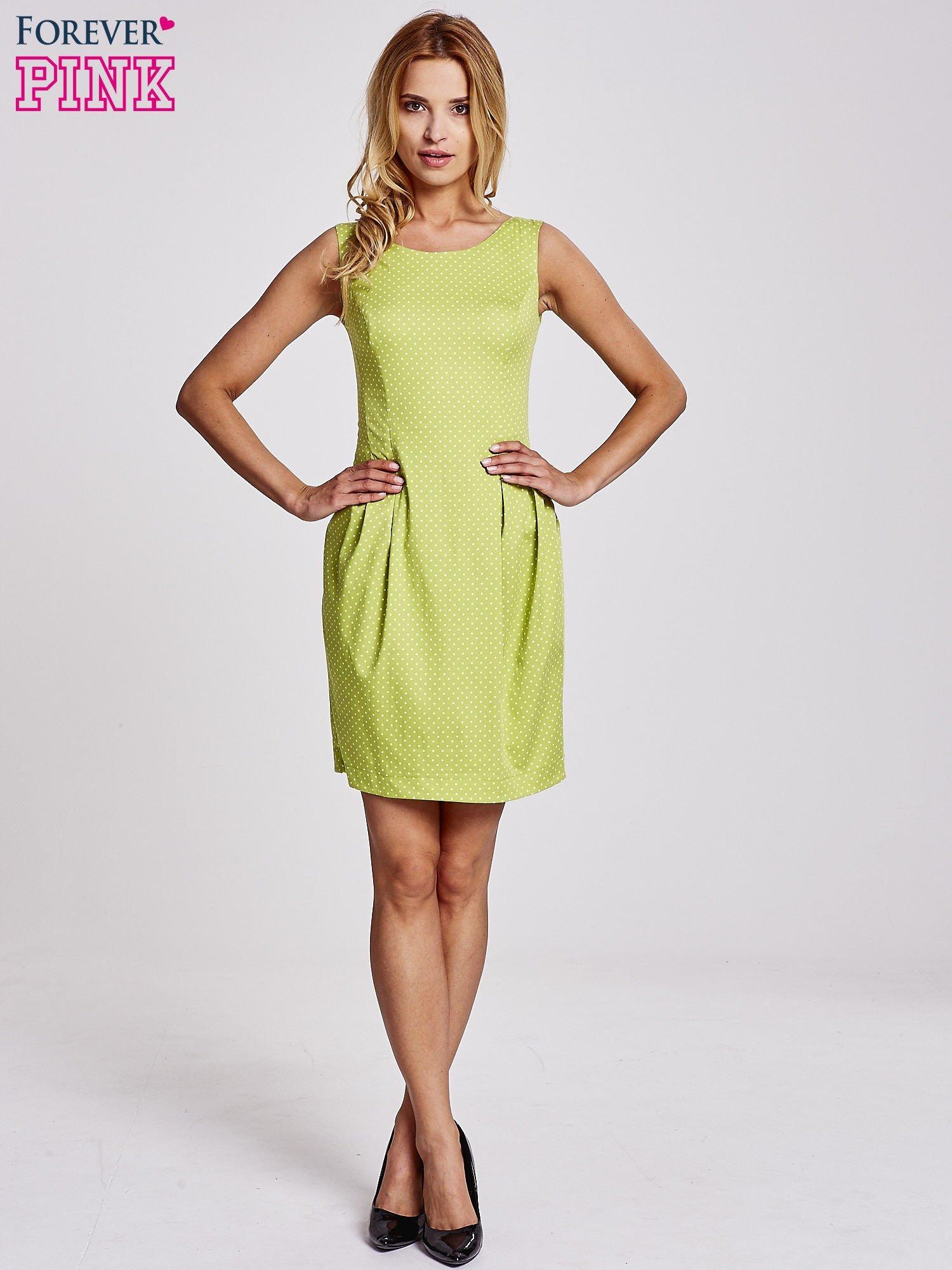 Zielona sukienka w groszki z zakładkami                                  zdj.                                  2