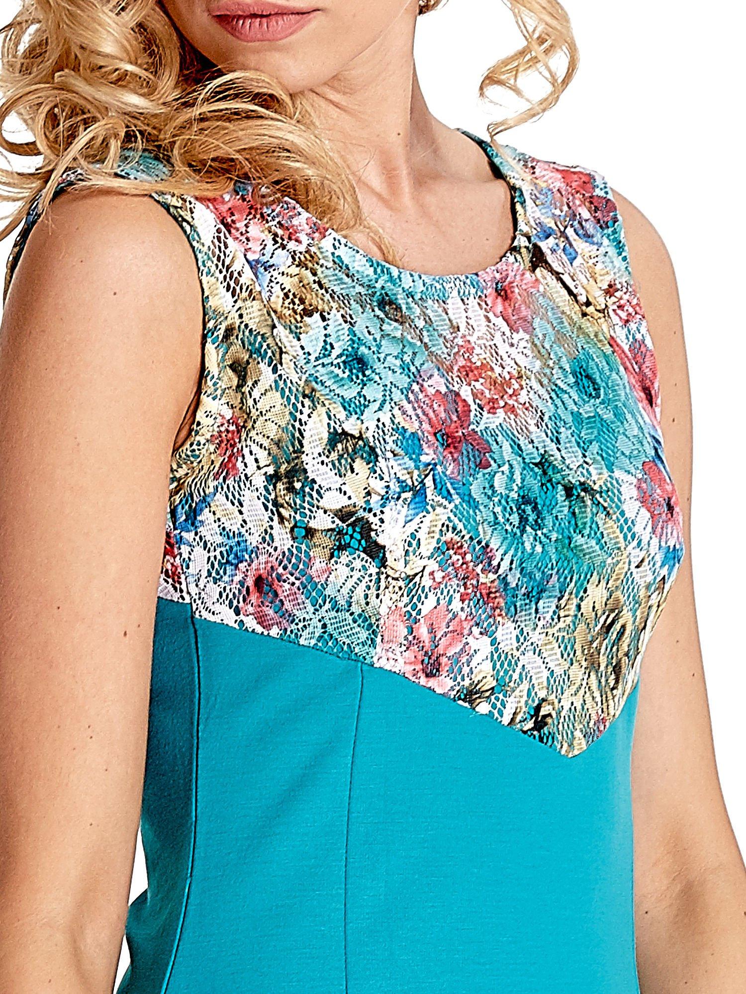Zielona sukienka z kwiatową koronką                                  zdj.                                  6