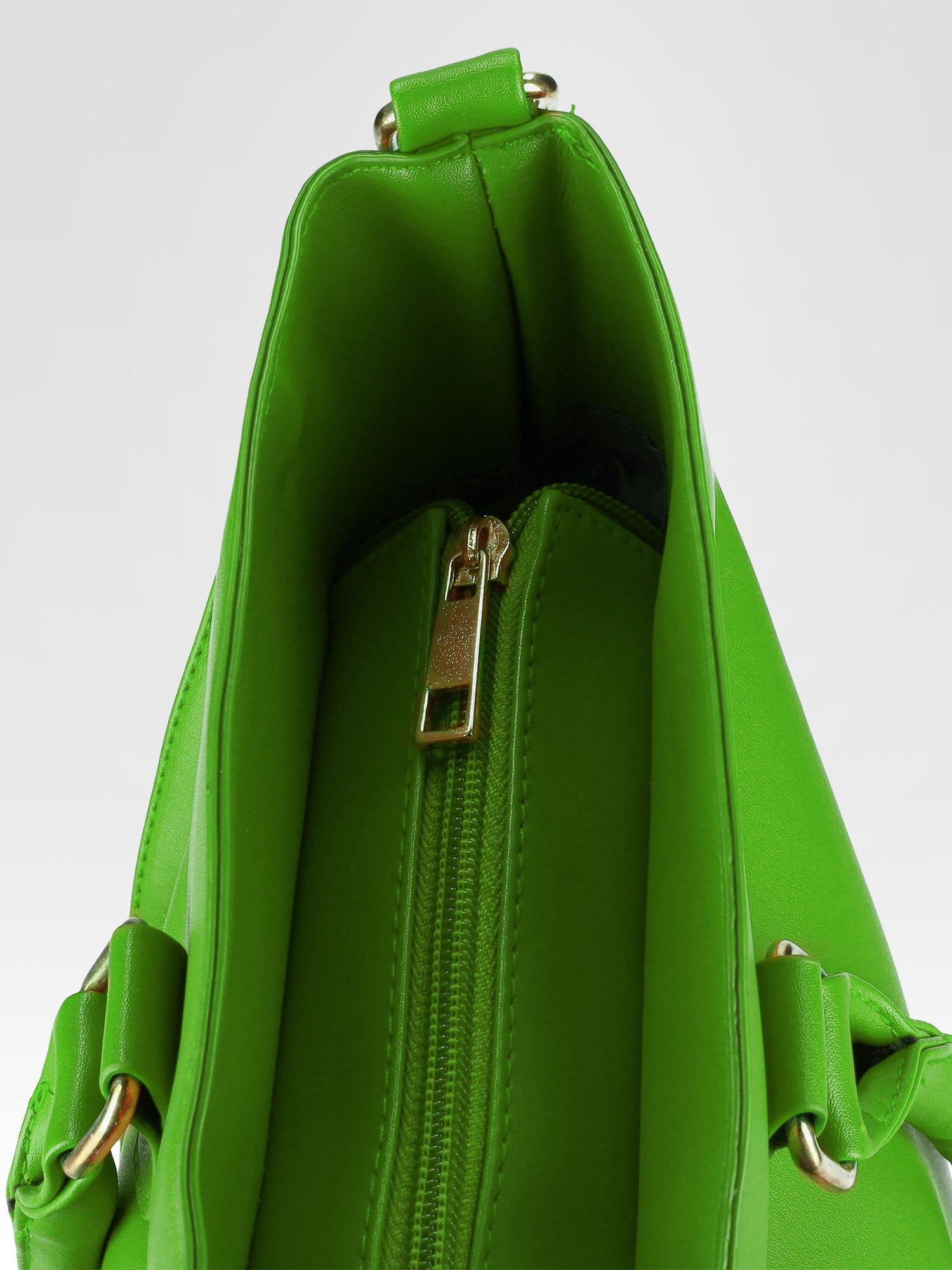 Zielona torebka city bag z zatrzaskiem                                  zdj.                                  9