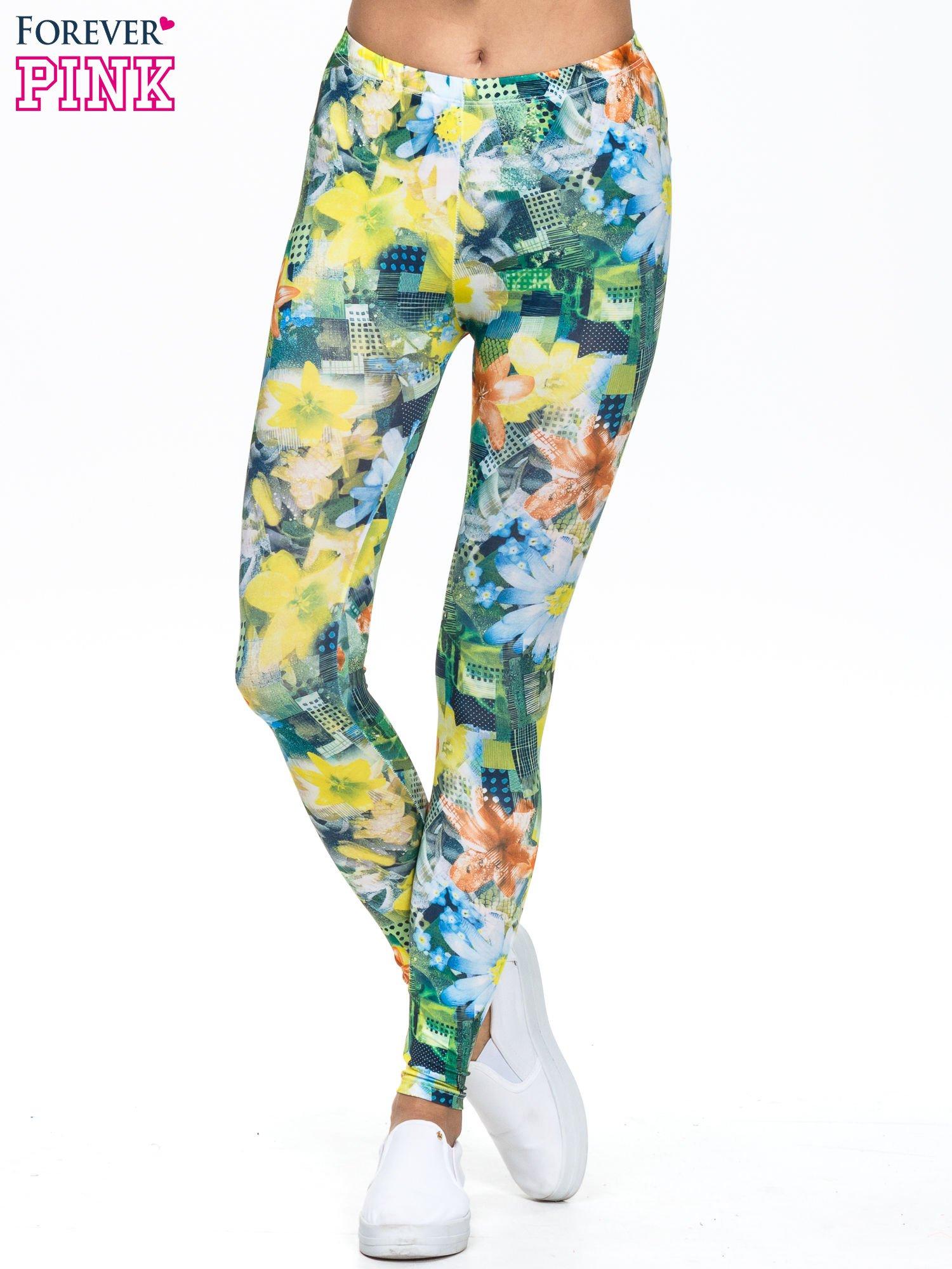 Zielone legginsy z motywem roślinnym                                  zdj.                                  1