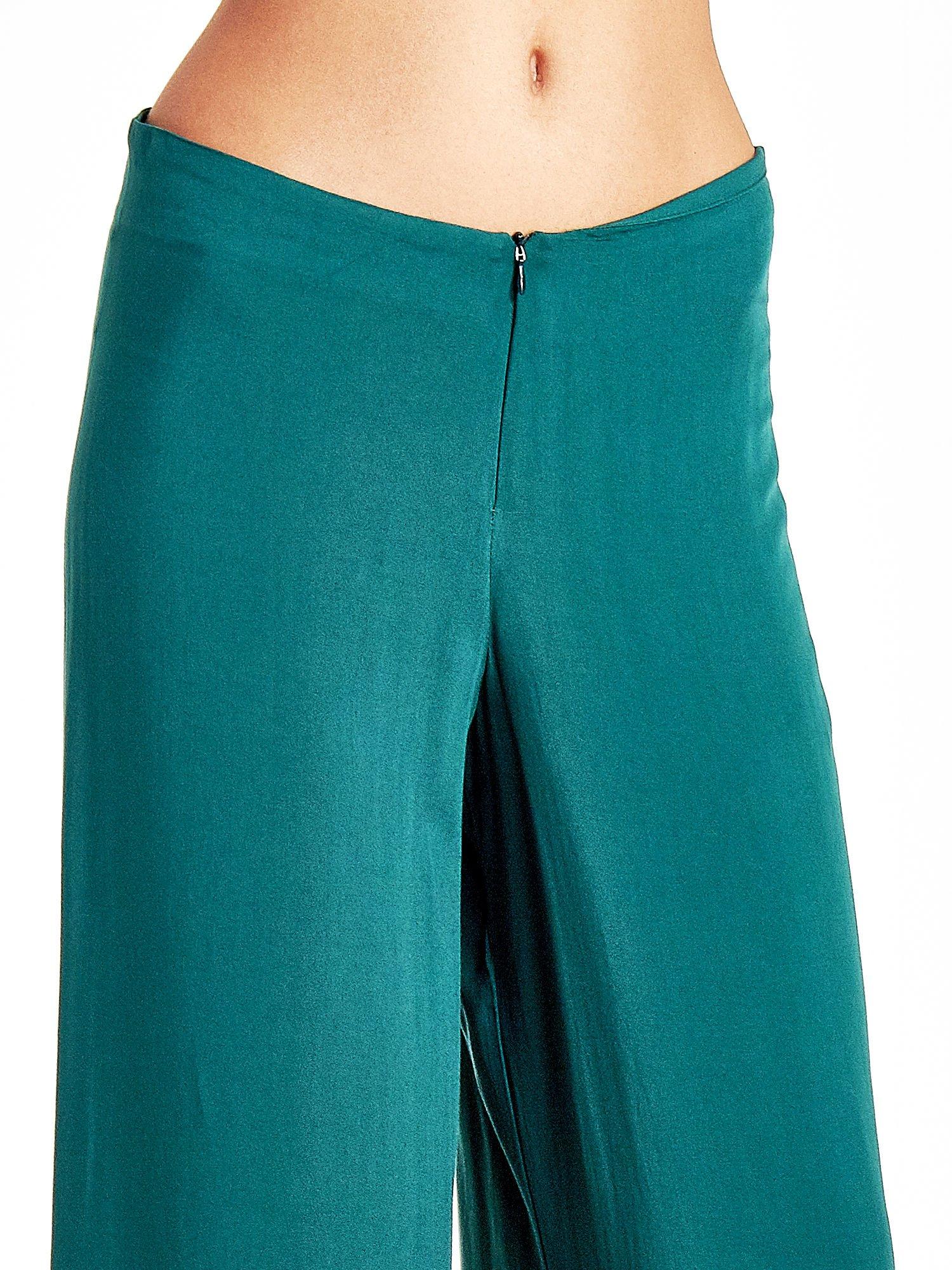 Zielone zwiewne spodnie typu palazzo                                  zdj.                                  5