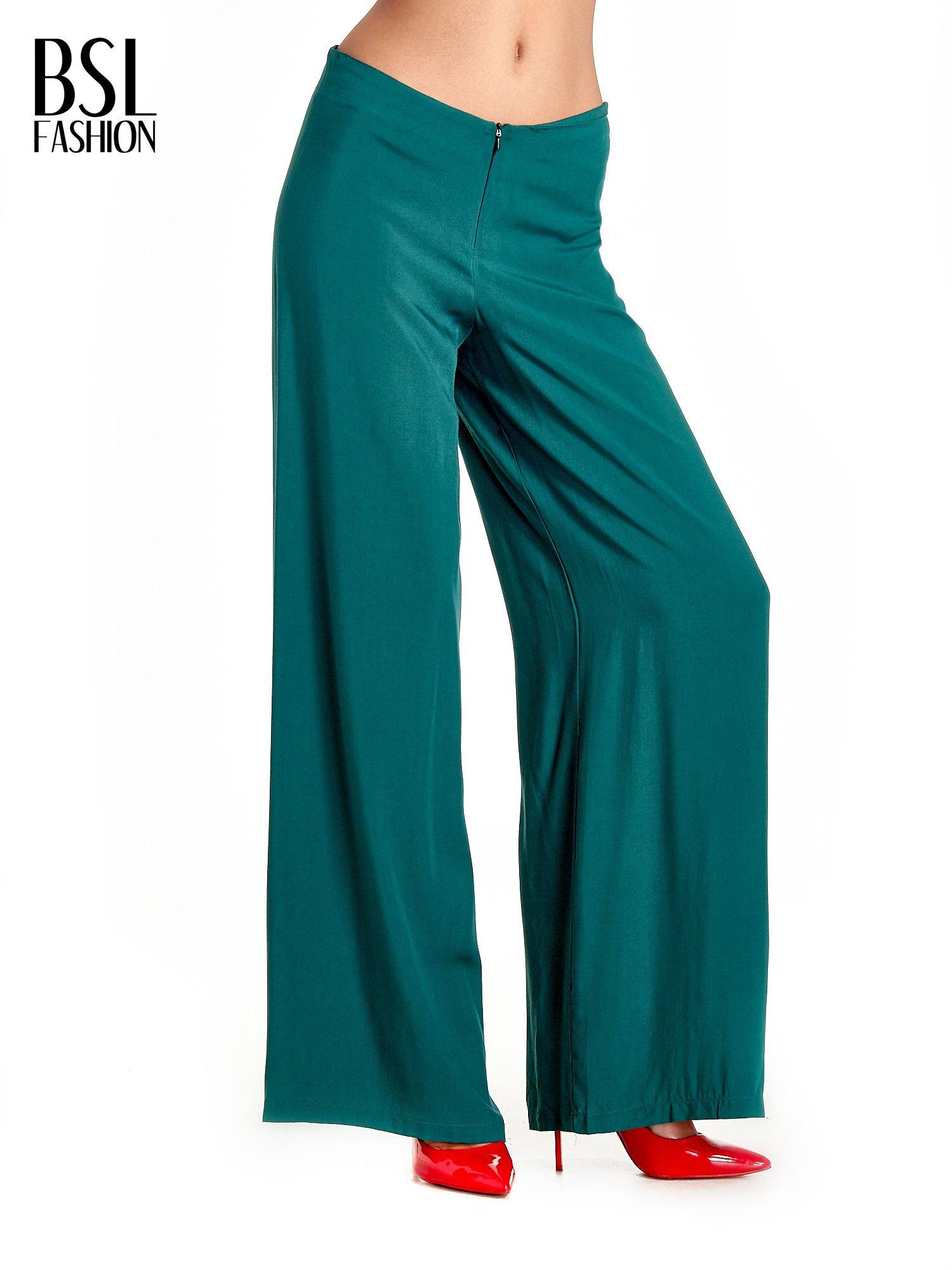 Zielone zwiewne spodnie typu palazzo                                  zdj.                                  1