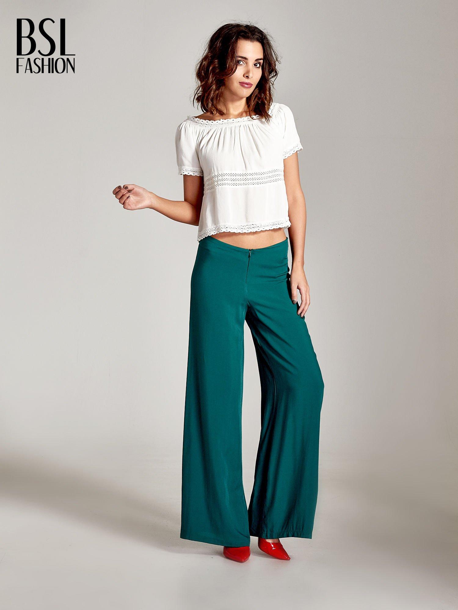 Zielone zwiewne spodnie typu palazzo                                  zdj.                                  8