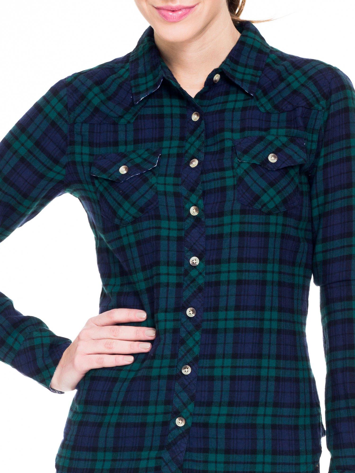 Zielono-granatowa koszula w kratę z kieszonkami                                  zdj.                                  6