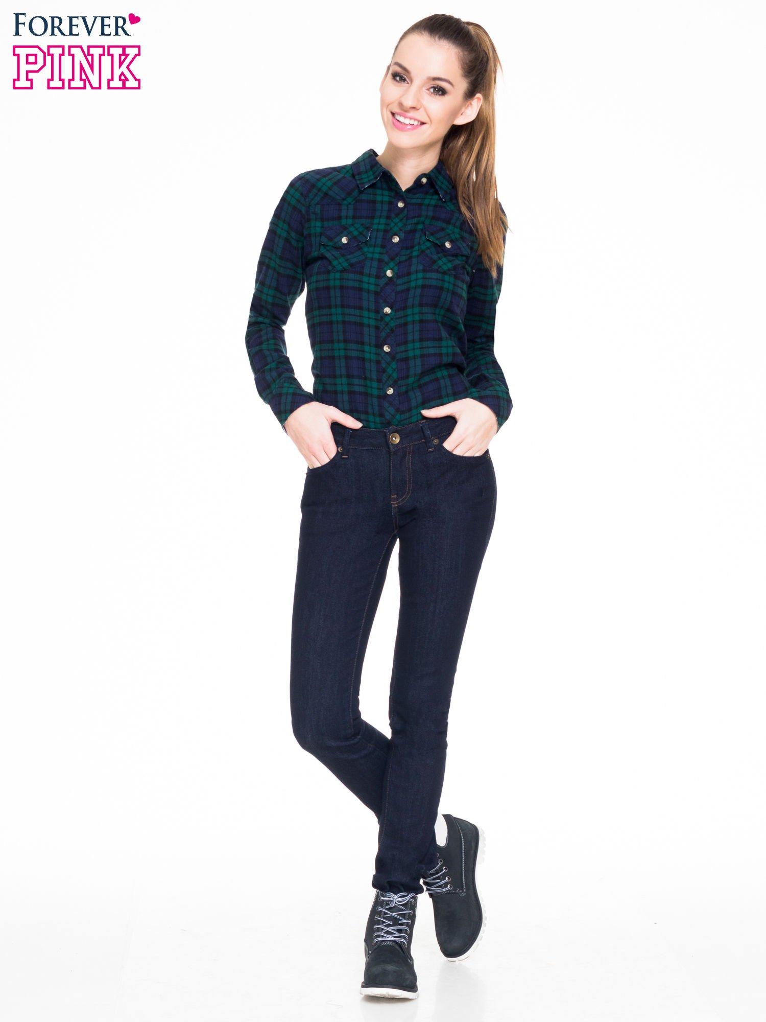 Zielono-granatowa koszula w kratę z kieszonkami                                  zdj.                                  3