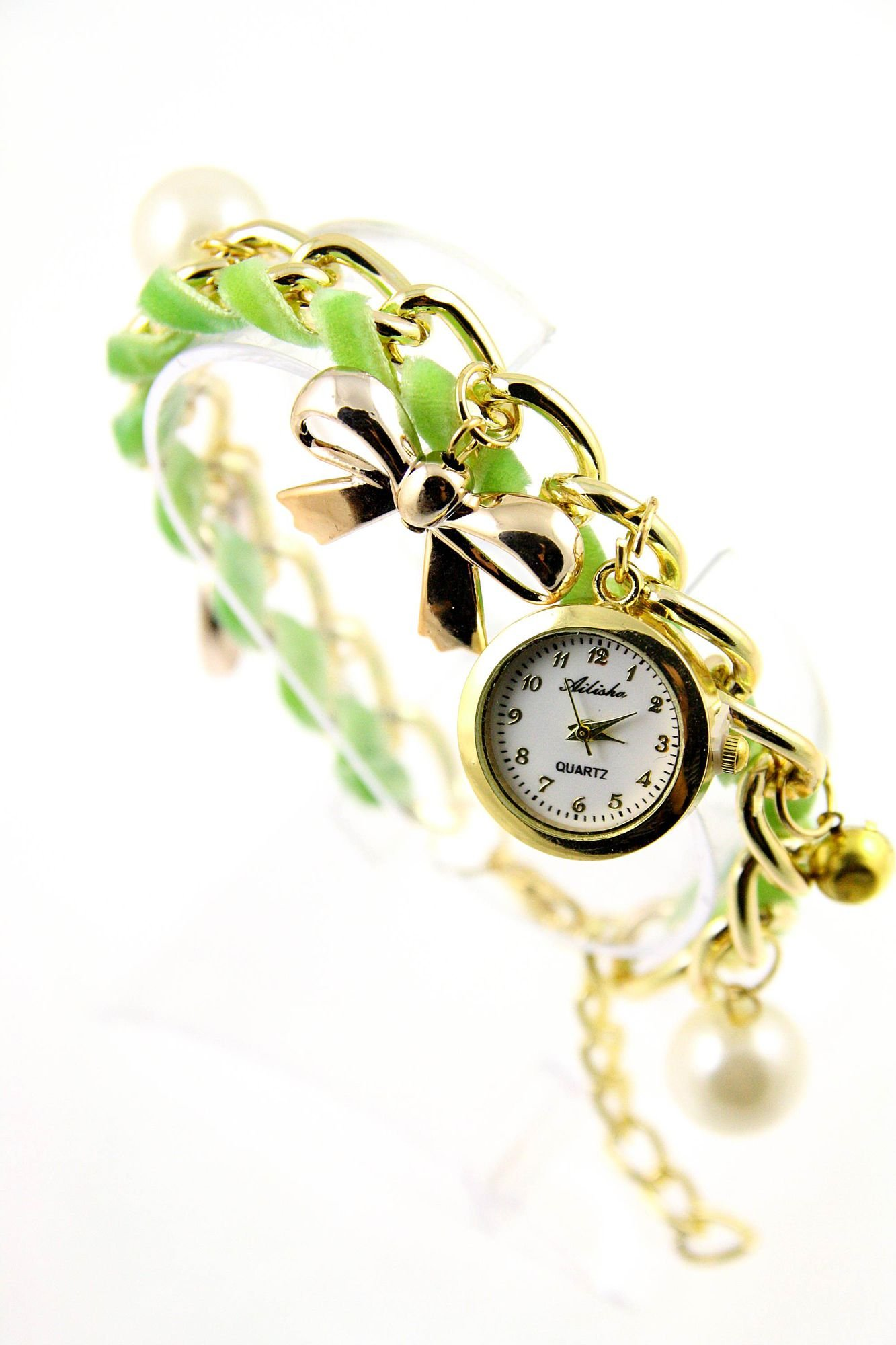 Zielono- złoty zegarek damski na złotej bransolecie.                                   zdj.                                  1