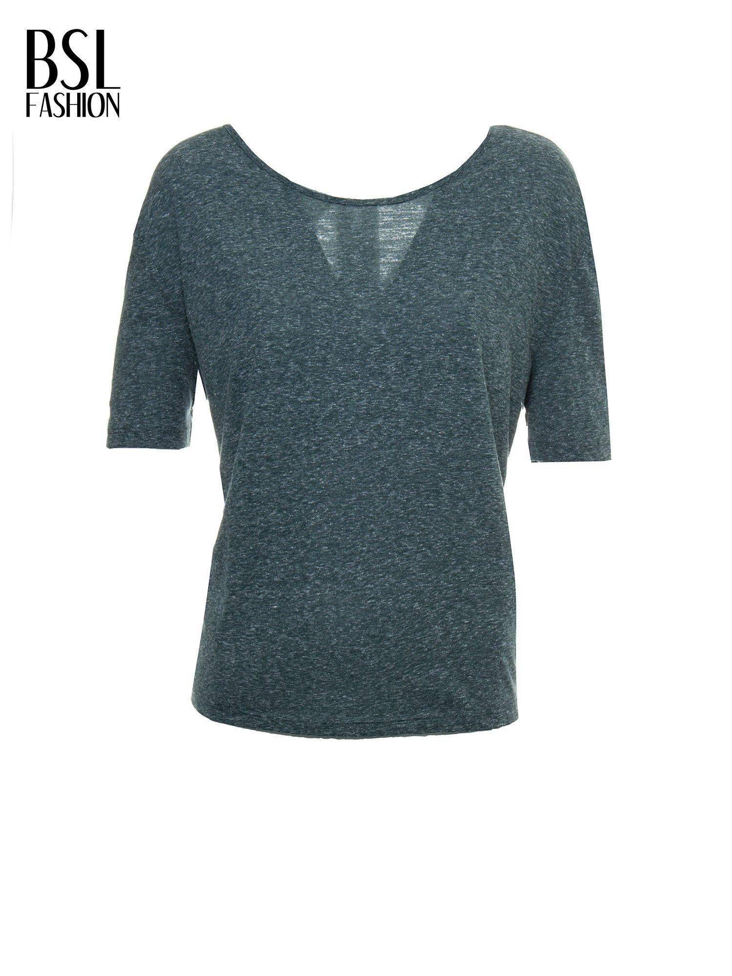 Zielony melanżowy t-shirt o luźnym kroju                                  zdj.                                  2