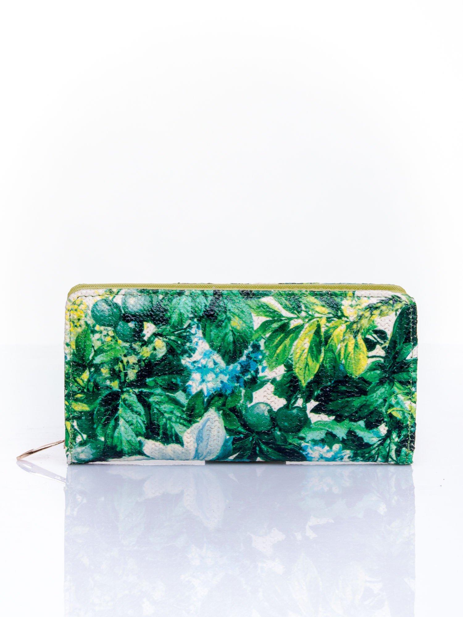 Zielony portfel z egzotycznym nadrukiem                                  zdj.                                  1