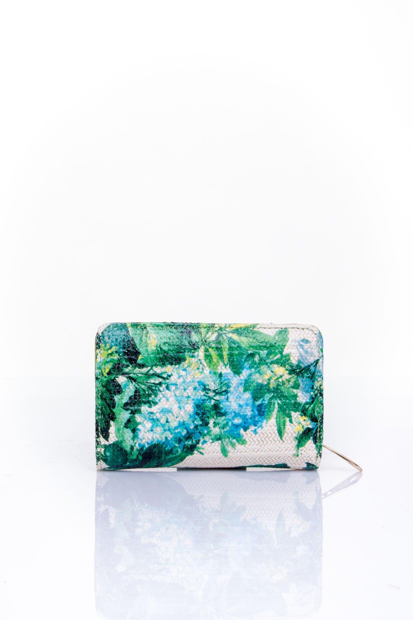 Zielony portfel z kwiatowym nadrukiem                                  zdj.                                  2