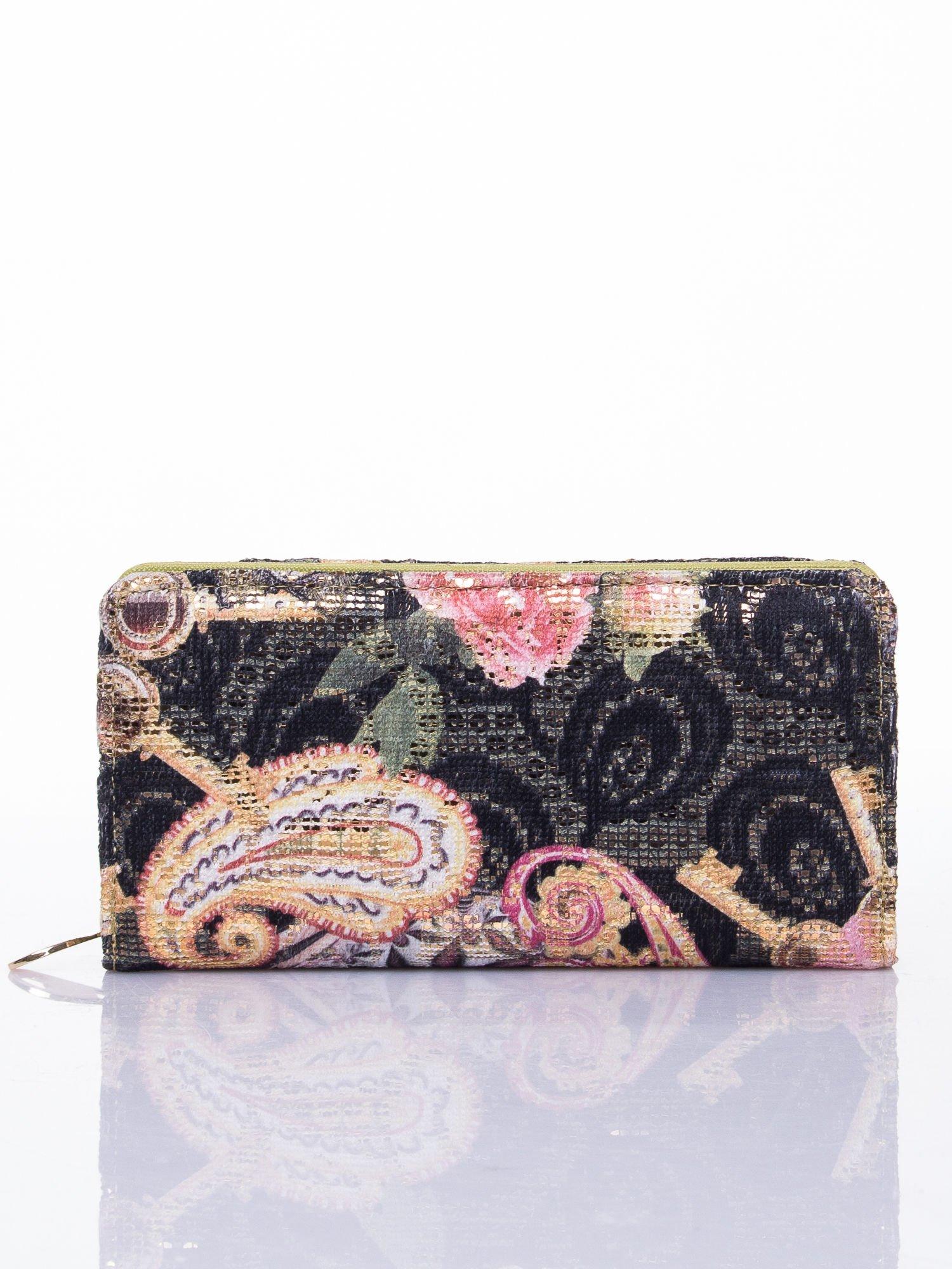 Zielony portfel z nadrukiem paisley                                  zdj.                                  1