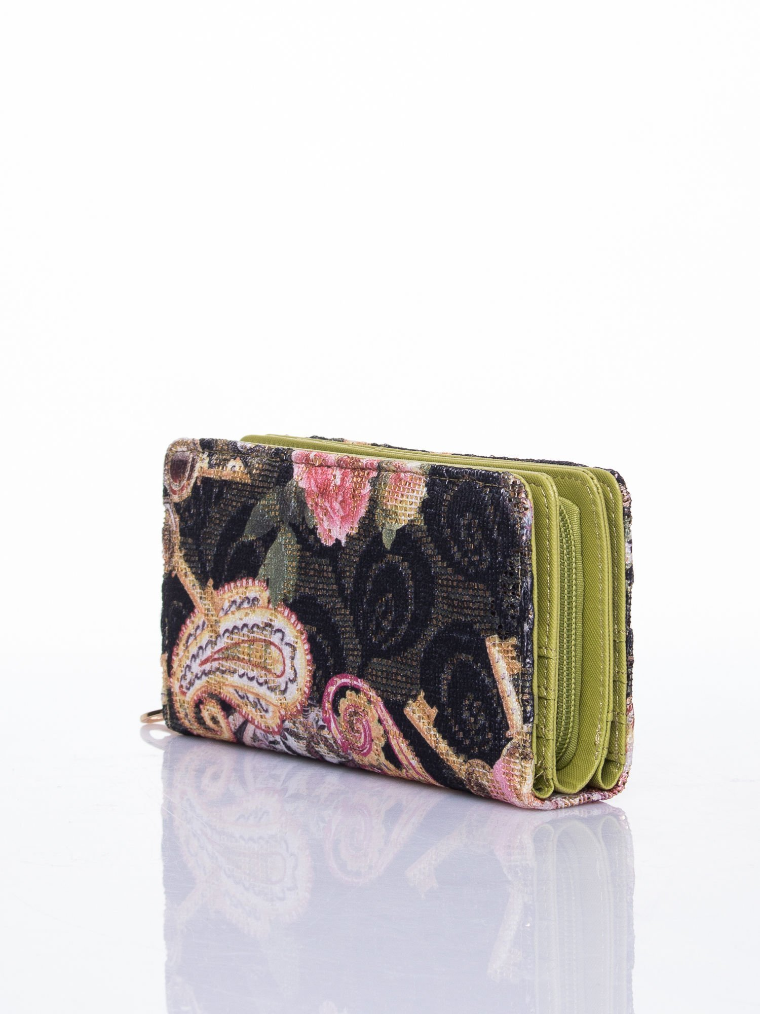 Zielony portfel z nadrukiem paisley                                  zdj.                                  3
