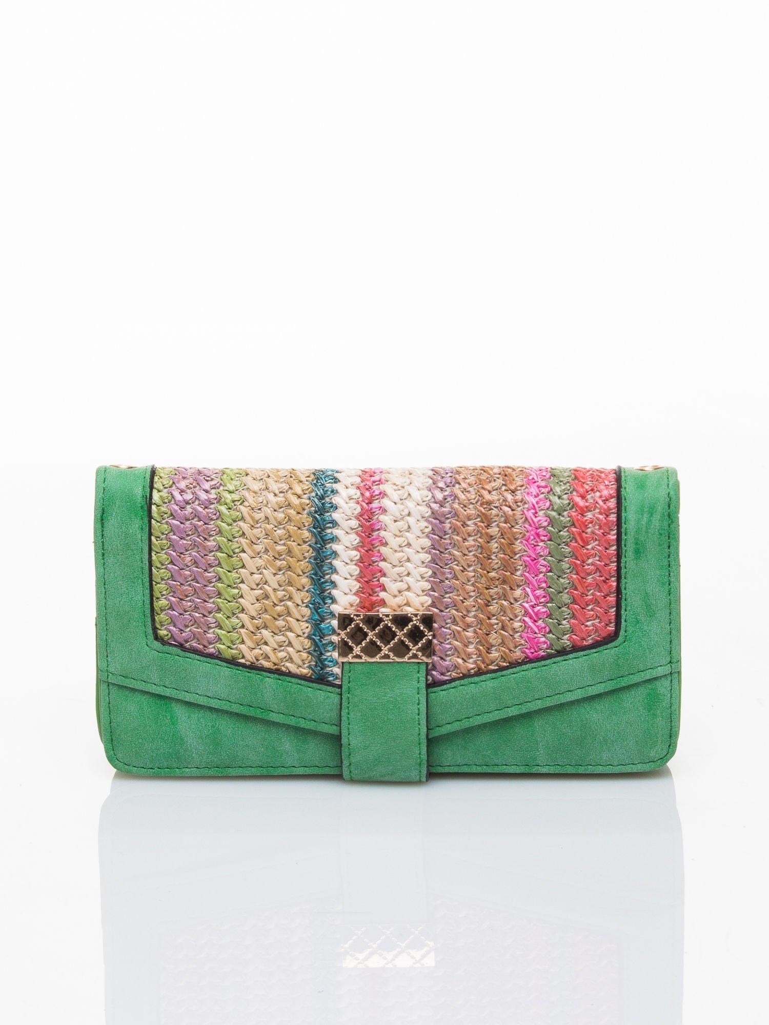 Zielony portfel z plecionką                                  zdj.                                  1