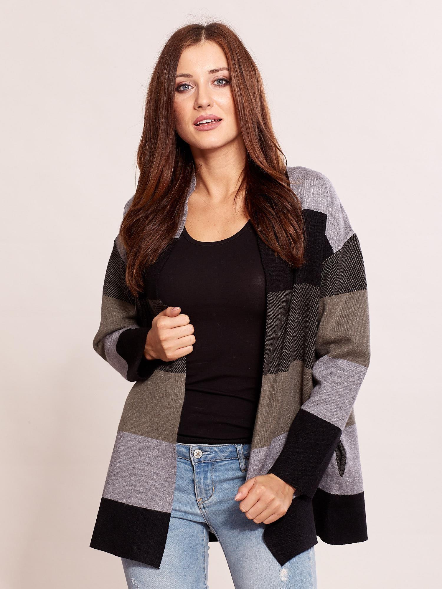 2652ee46 Zielony sweter damski w pasy - Sweter długi - sklep eButik.pl