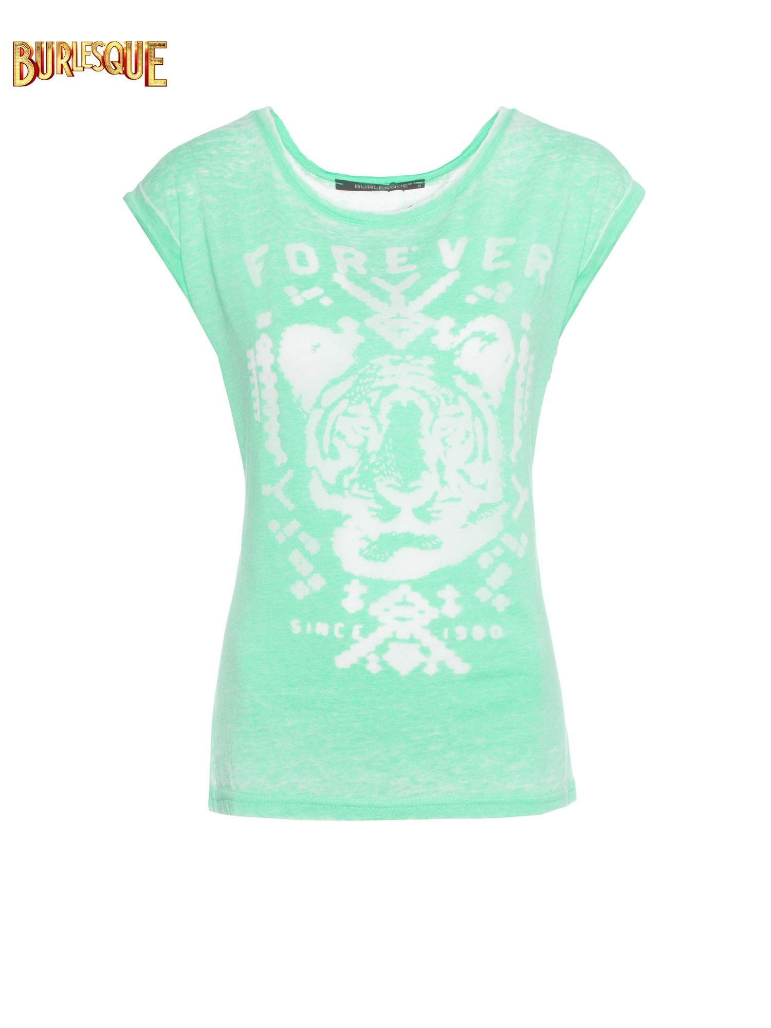 Zielony t-shirt z napisem FOREVER i nadrukiem tygrysa                                  zdj.                                  1