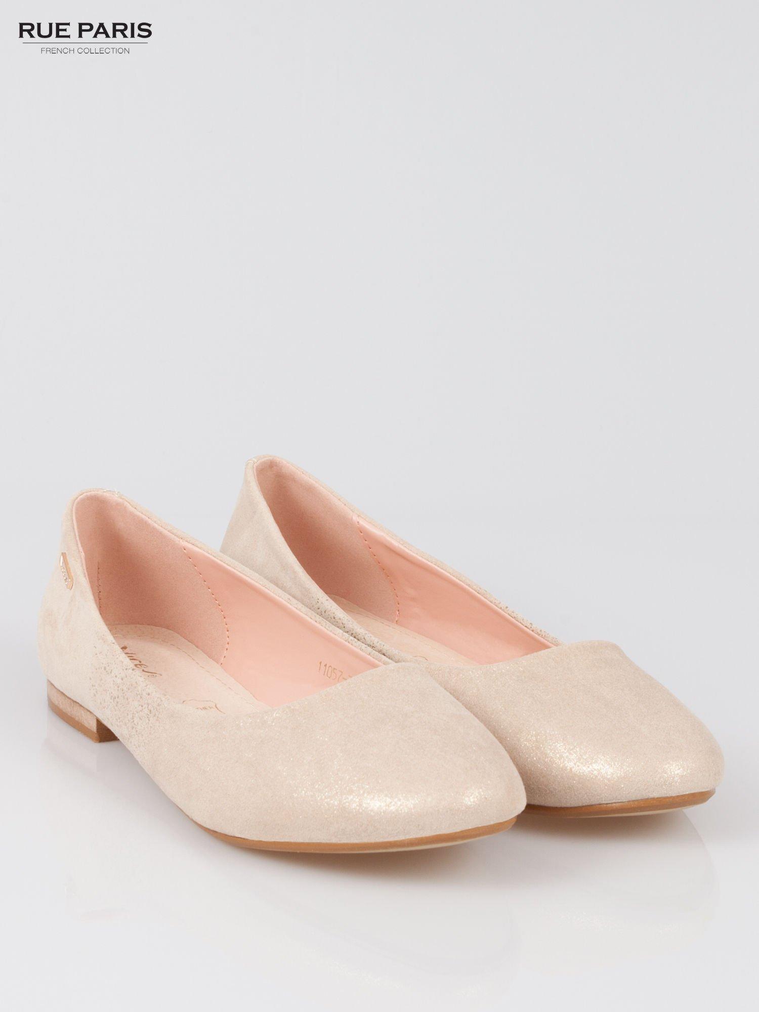 Złote baleriny dual leather Gloss z lekkim metalizowaniem                                  zdj.                                  2
