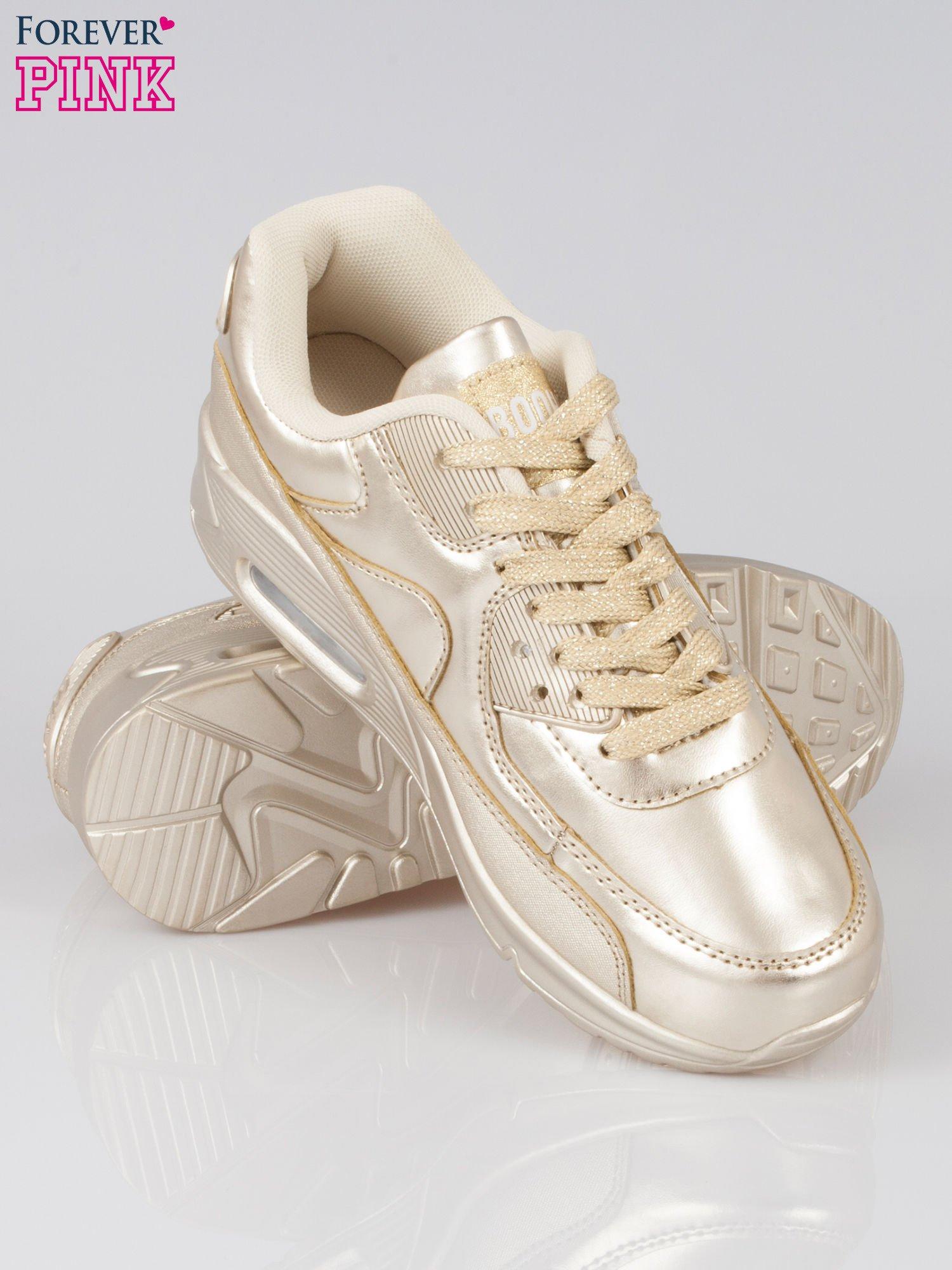 Złote buty sportowe faux leather Gigi z poduszką powietrzną w pięcie                                  zdj.                                  4