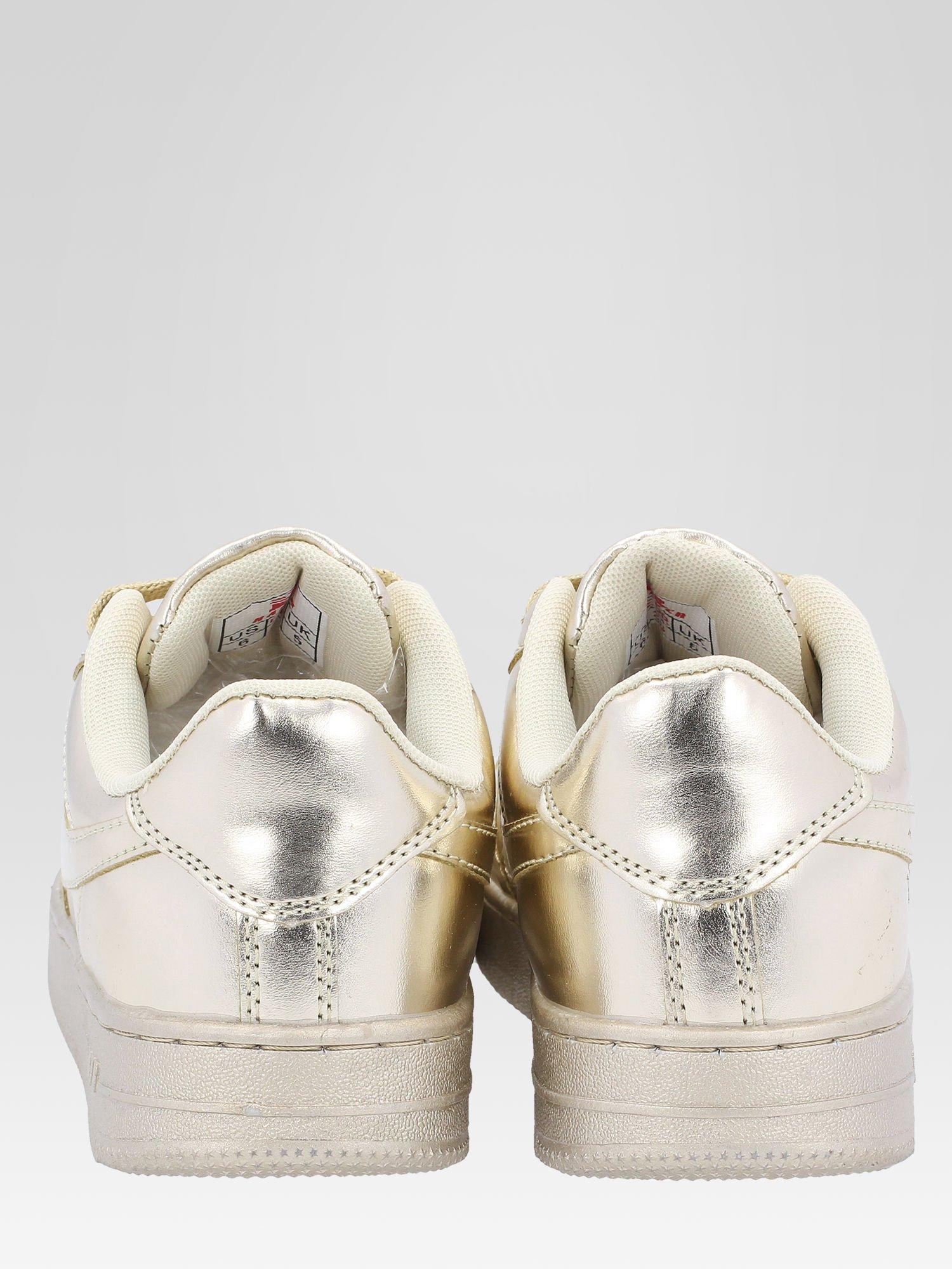 Złote buty sportowe faux leather Mousse na grubej podeszwie                                  zdj.                                  3