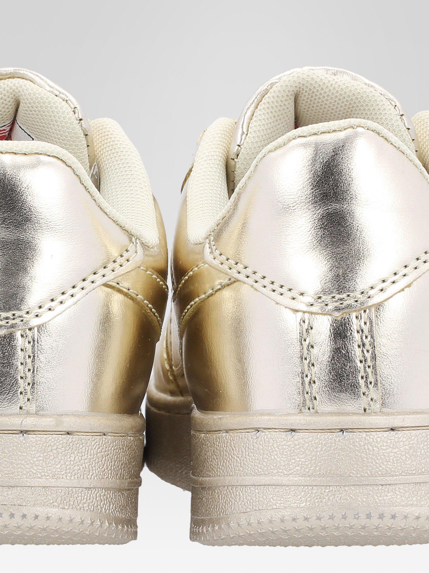 Złote buty sportowe faux leather Mousse na grubej podeszwie                                  zdj.                                  7