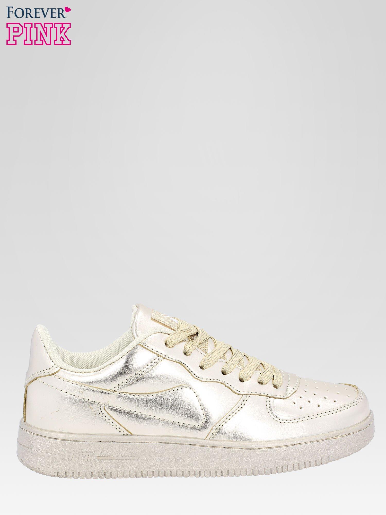 Złote buty sportowe faux leather Mousse na grubej podeszwie                                  zdj.                                  1