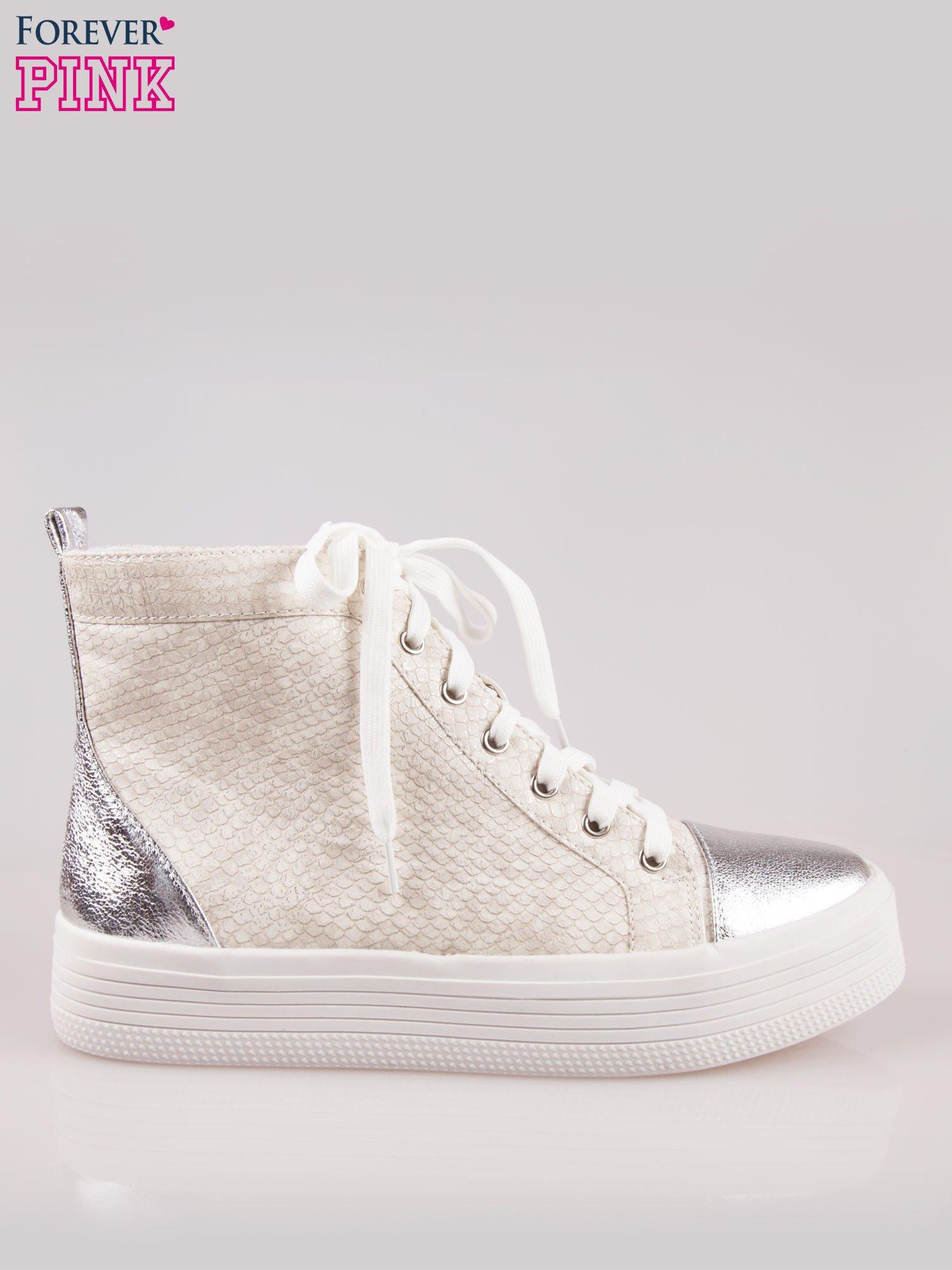 Złote wężowe sneakersy za kostkę ze srebrnym noskiem i zapiętkiem                                  zdj.                                  1