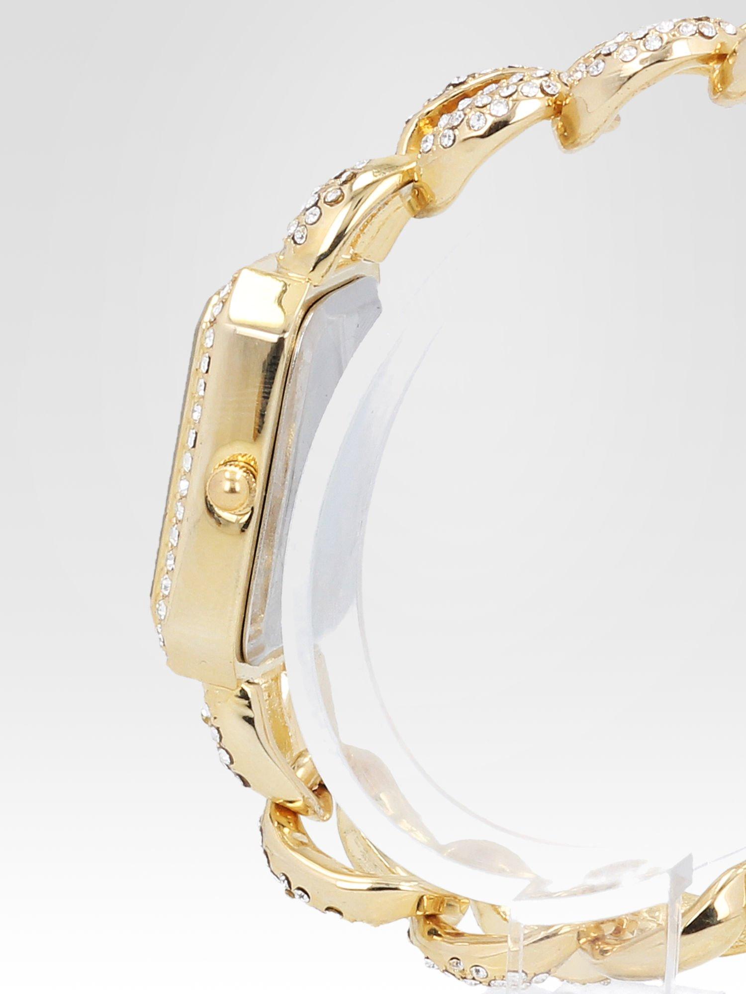 Złoty biżuteryjny zegarek damski na bransolecie z cyrkoniami                                  zdj.                                  3