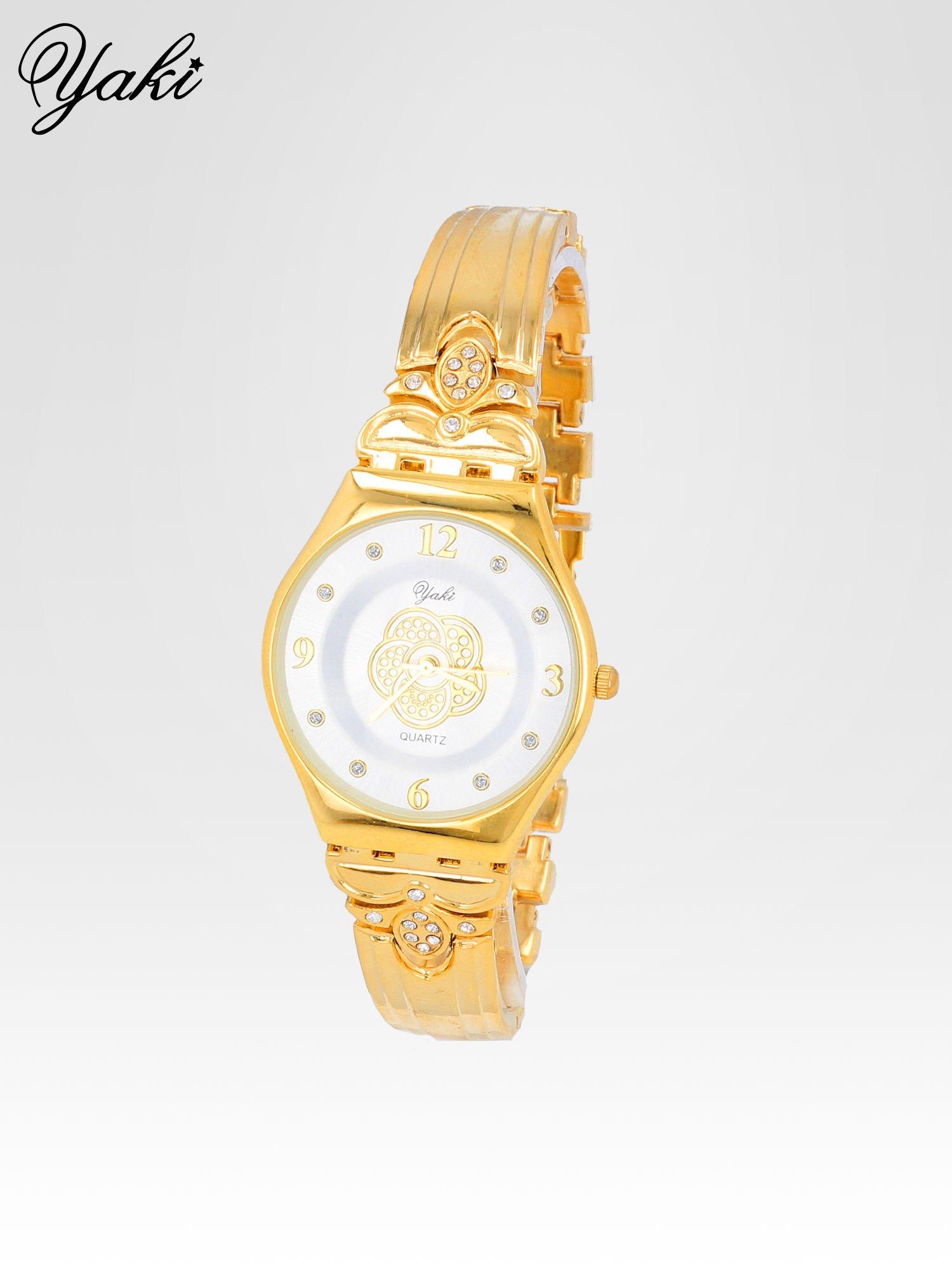 Złoty biżuteryjny zegarek damski z białą tarczą                                  zdj.                                  2