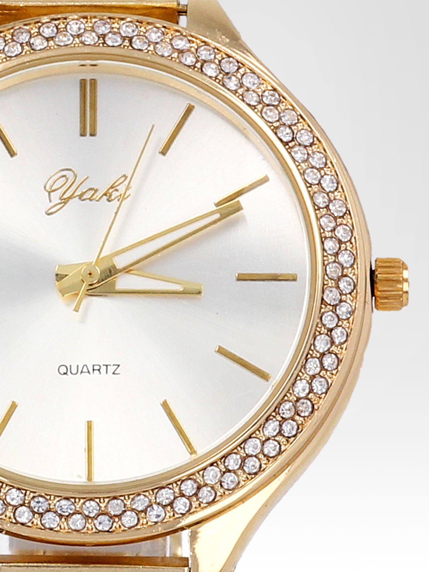 Złoty cyrkoniowy zegarek damski na bransolecie                                  zdj.                                  6