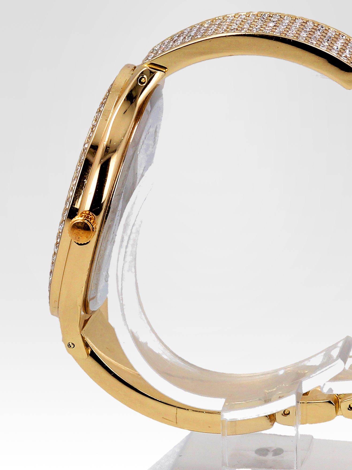 Złoty cyrkoniowy zegarek damski na bransolecie                                  zdj.                                  3