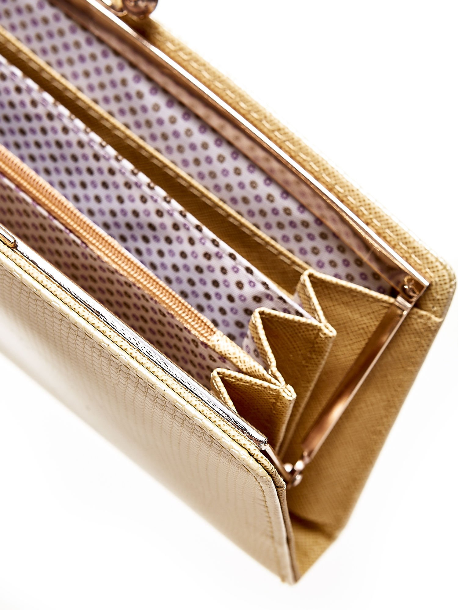 Złoty portfel z motywem skóry węża z biglem                                  zdj.                                  4
