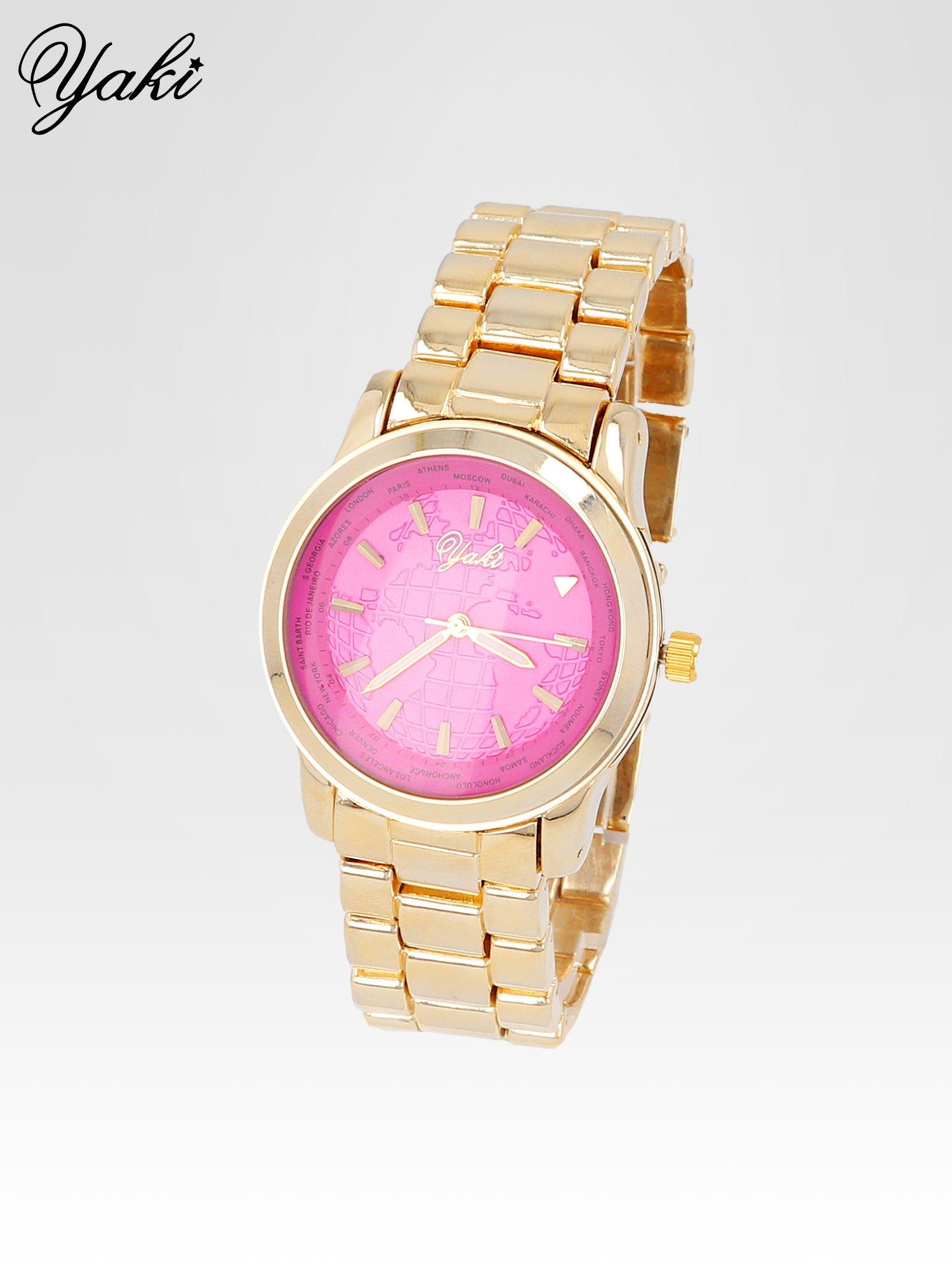 Złoty zegarek damski globtroter z różową tarczą z motywem mapy                                  zdj.                                  2
