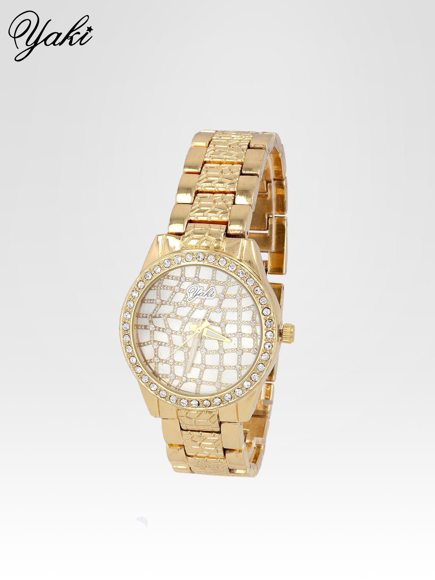 Złoty zegarek damski na bransolecie z cyrkoniową kopertą                                  zdj.                                  2