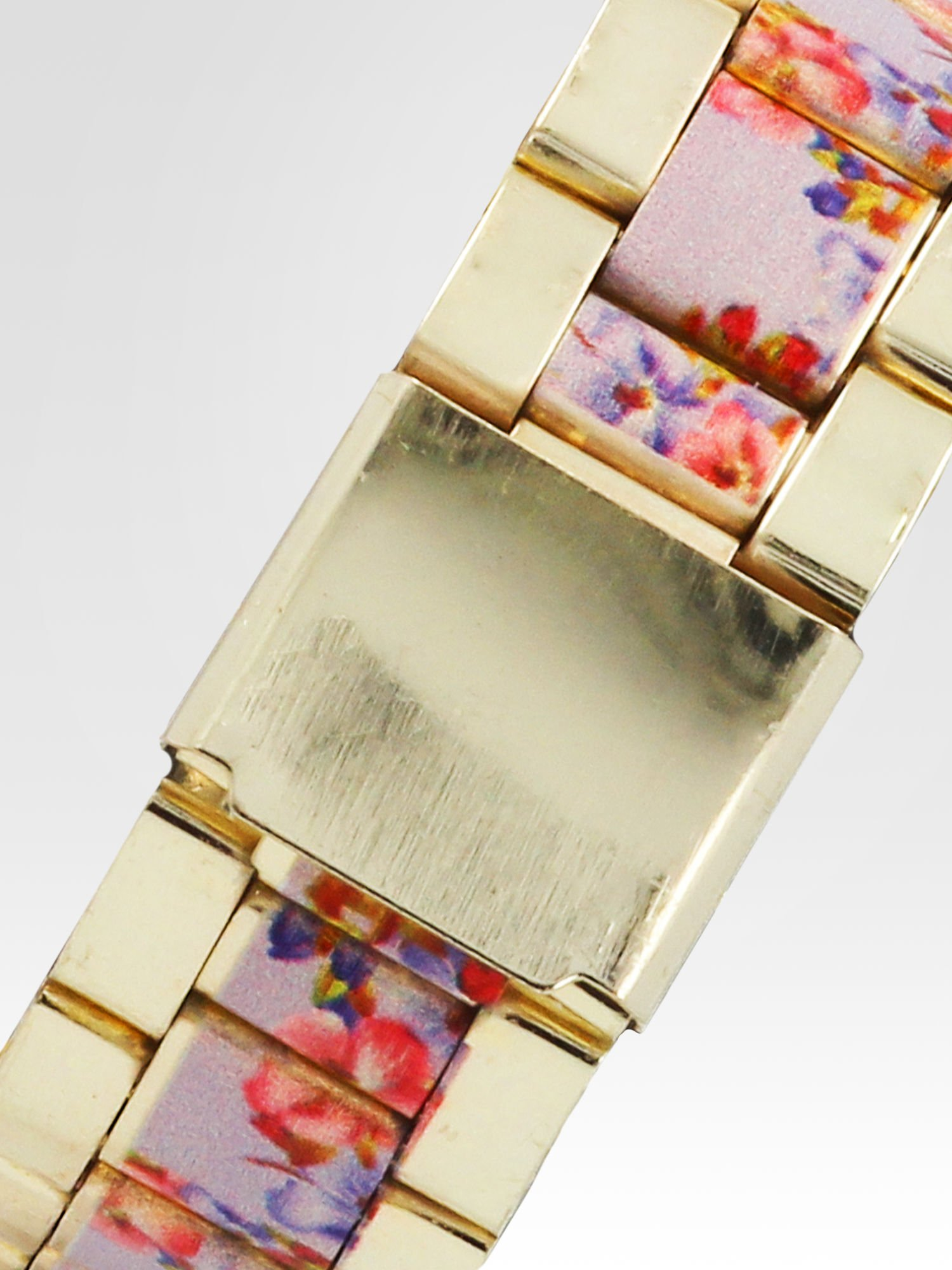 Złoty zegarek damski na bransolecie z jasnoóżowym motywem kwiatowym                                  zdj.                                  4