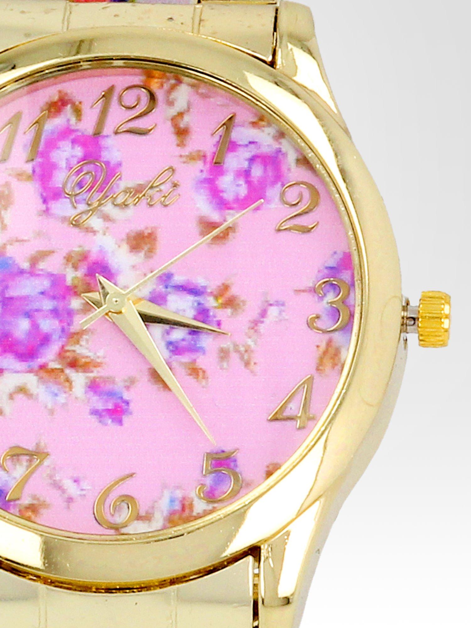Złoty zegarek damski na bransolecie z jasnoóżowym motywem kwiatowym                                  zdj.                                  6