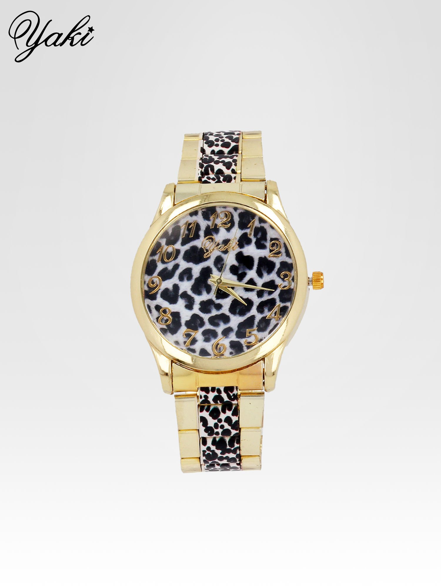 Złoty zegarek damski na bransolecie z motywem panterkowym                                  zdj.                                  1