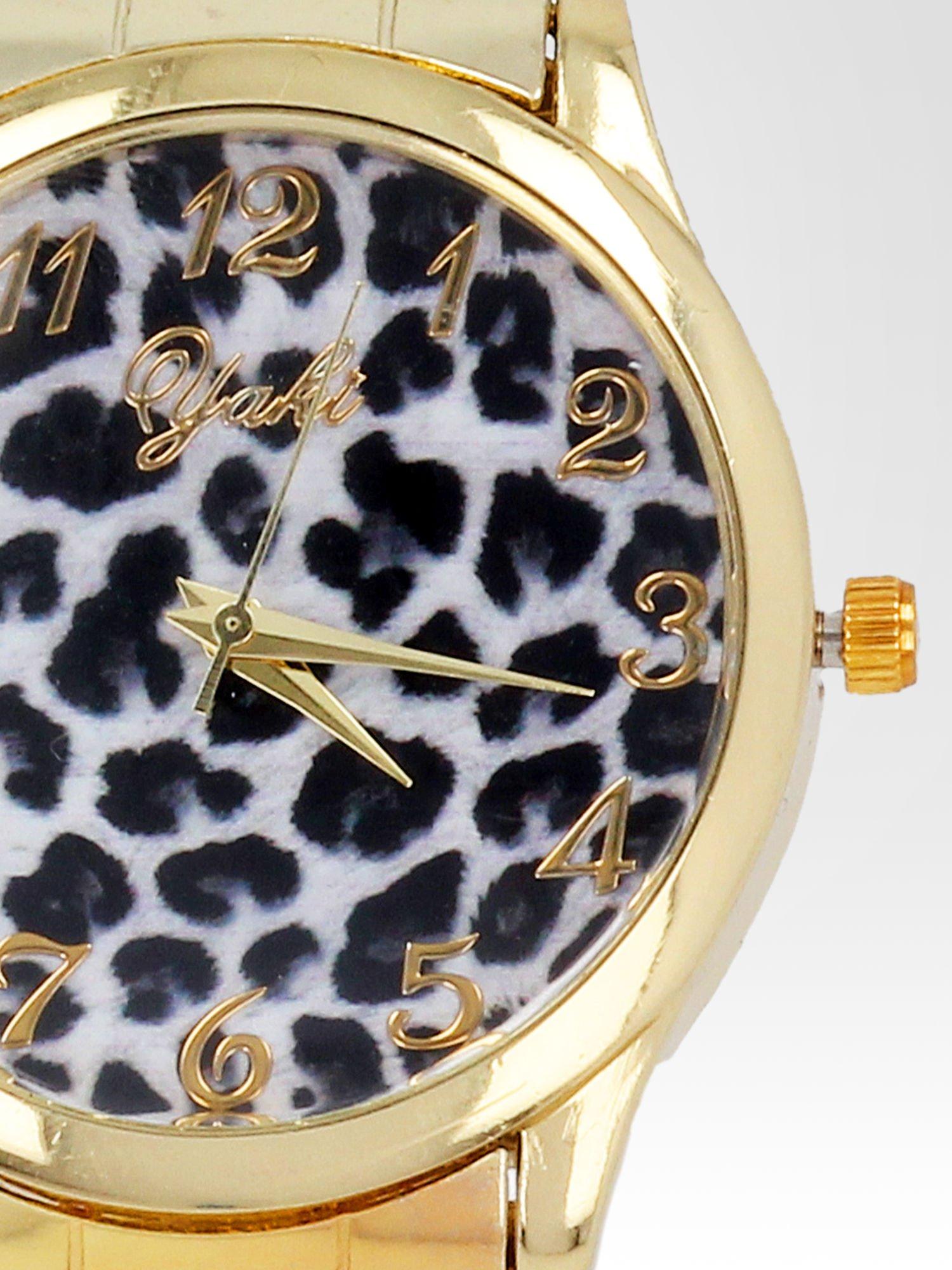 Złoty zegarek damski na bransolecie z motywem panterkowym                                  zdj.                                  6