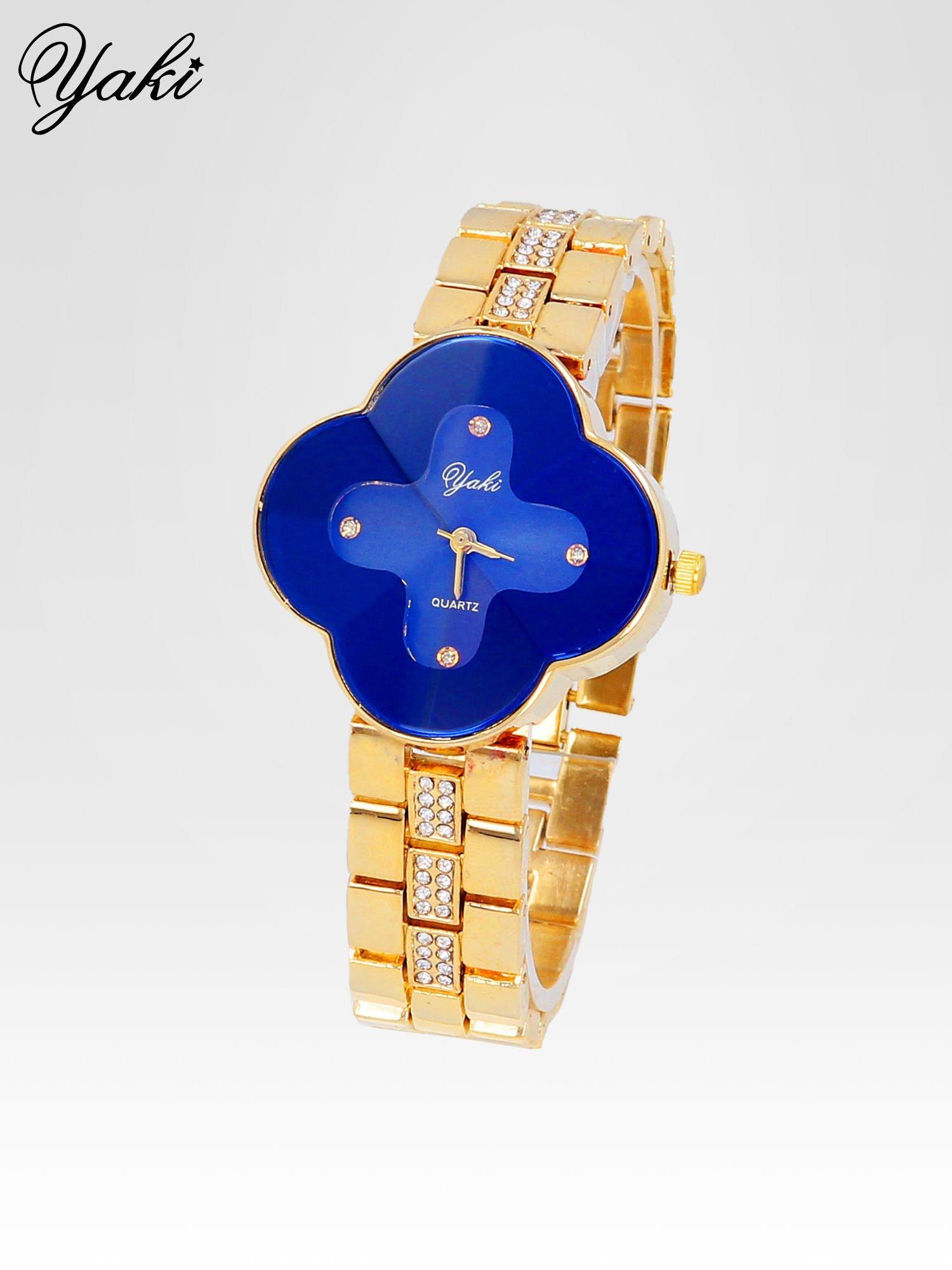 Złoty zegarek damski na bransolecie z niebieską tarczą koniczyną                                  zdj.                                  2