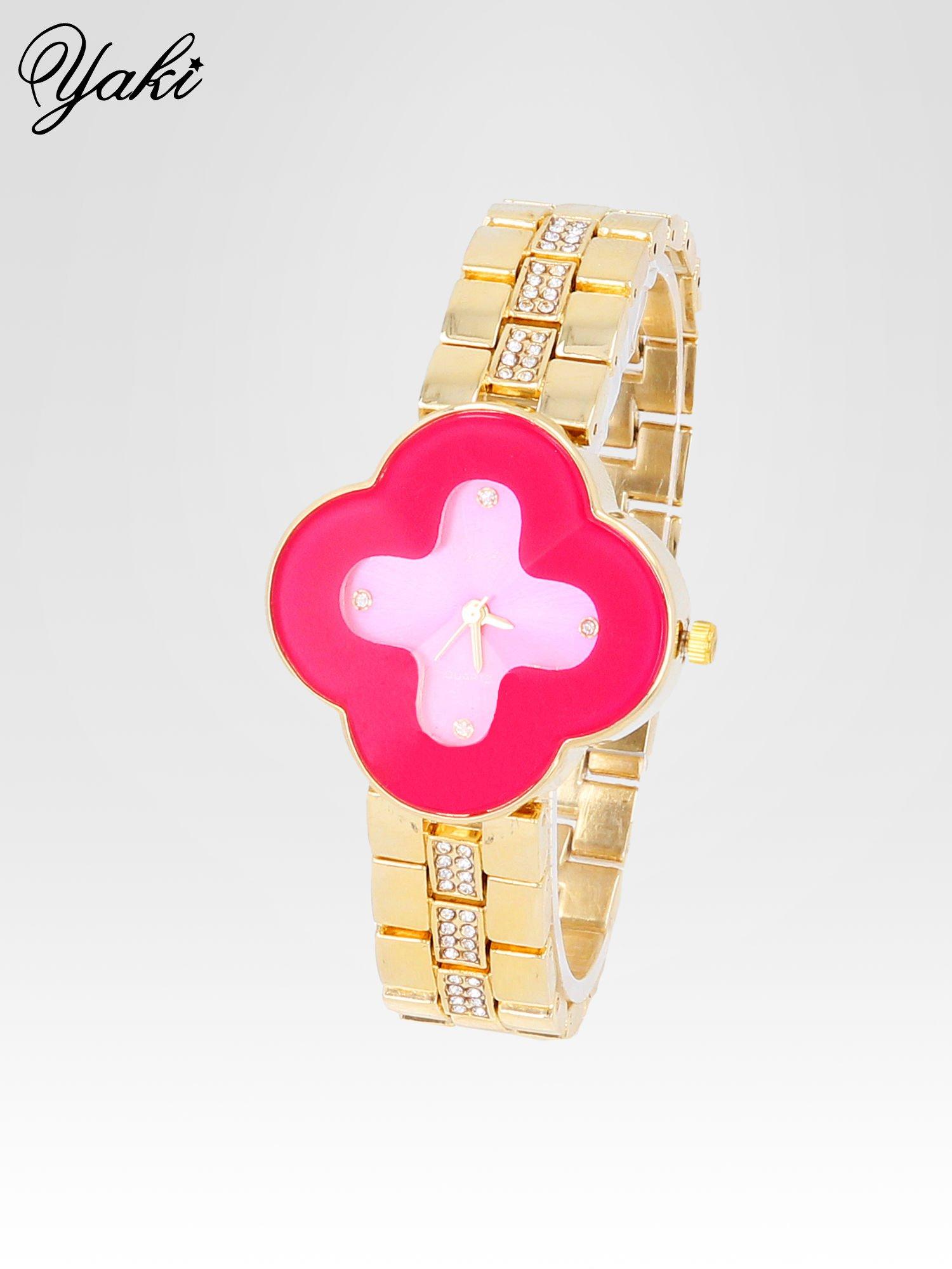 Złoty zegarek damski na bransolecie z różową tarczą koniczyną                                  zdj.                                  2
