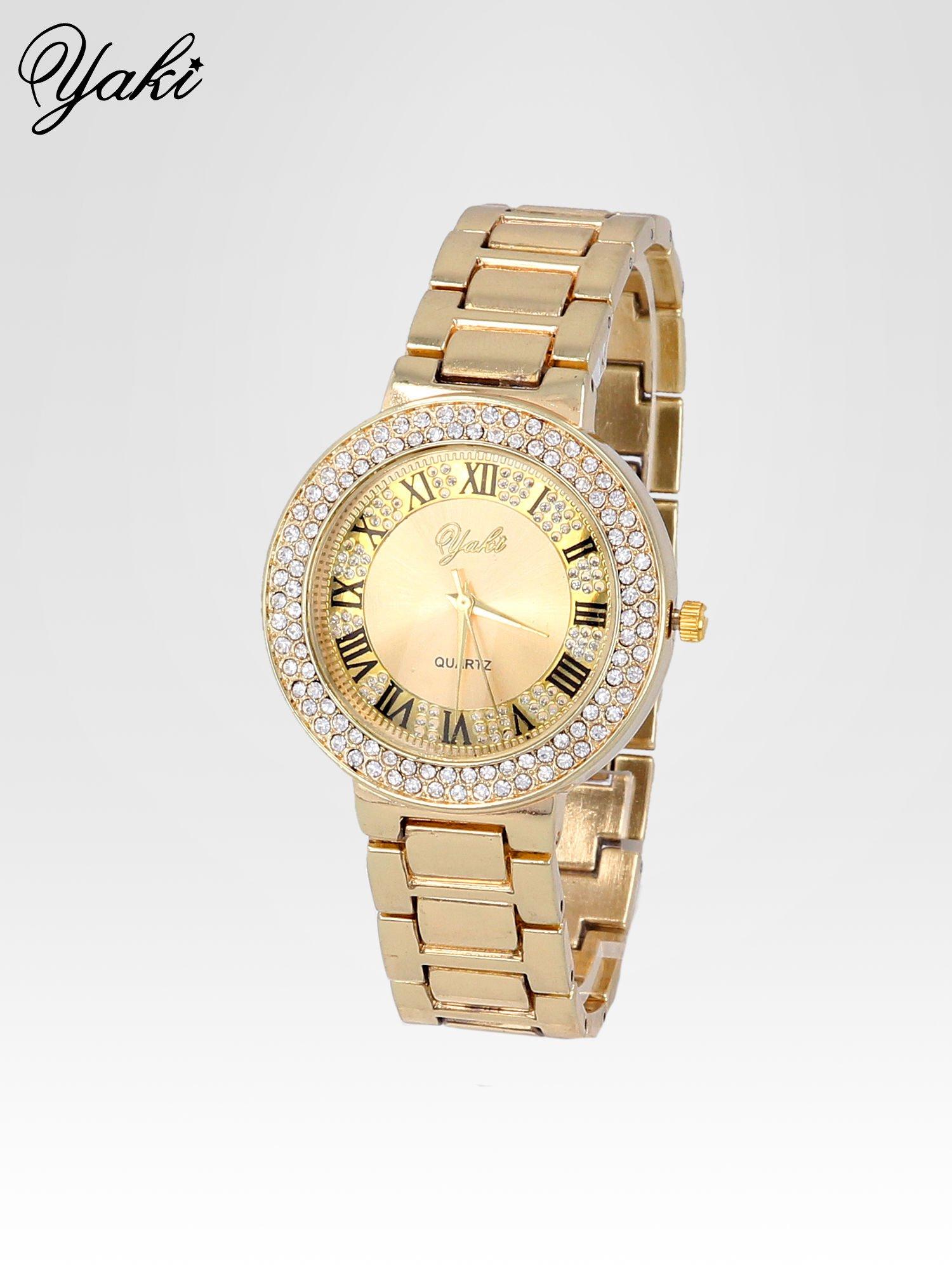 Złoty zegarek damski z bogato zdobioną tarczą cyrkoniami                                  zdj.                                  2