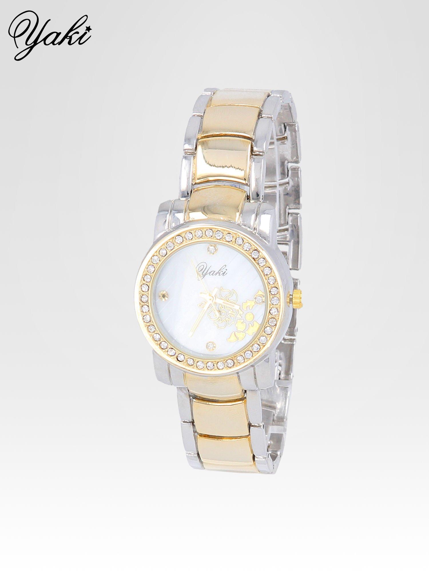 Złoty zegarek damski z grawerem kwiatów                                  zdj.                                  2