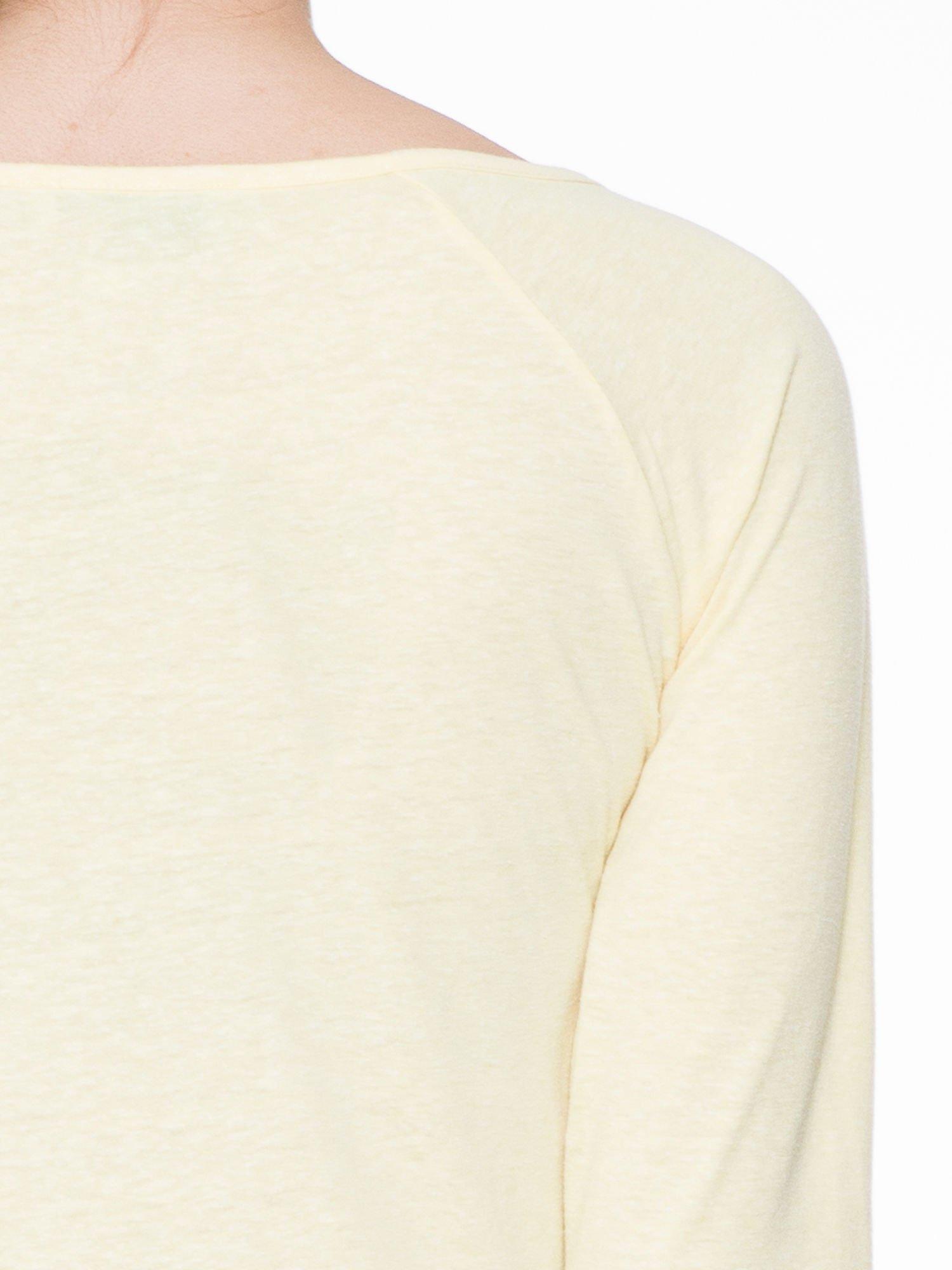 Żółta basicowa gładka bluzka z rękawem 7/8                                  zdj.                                  5