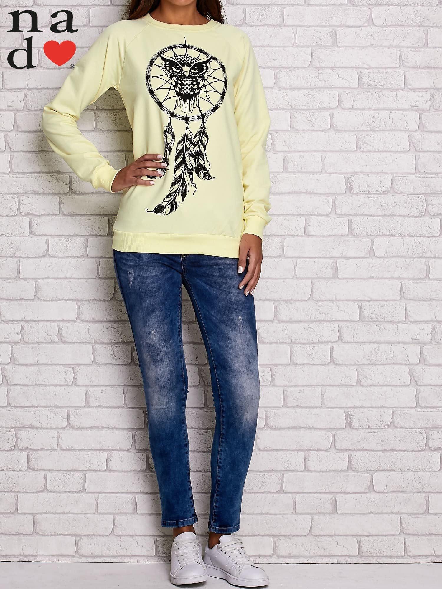 Żółta bluza z motywem sowy i łapacza snów                                  zdj.                                  2