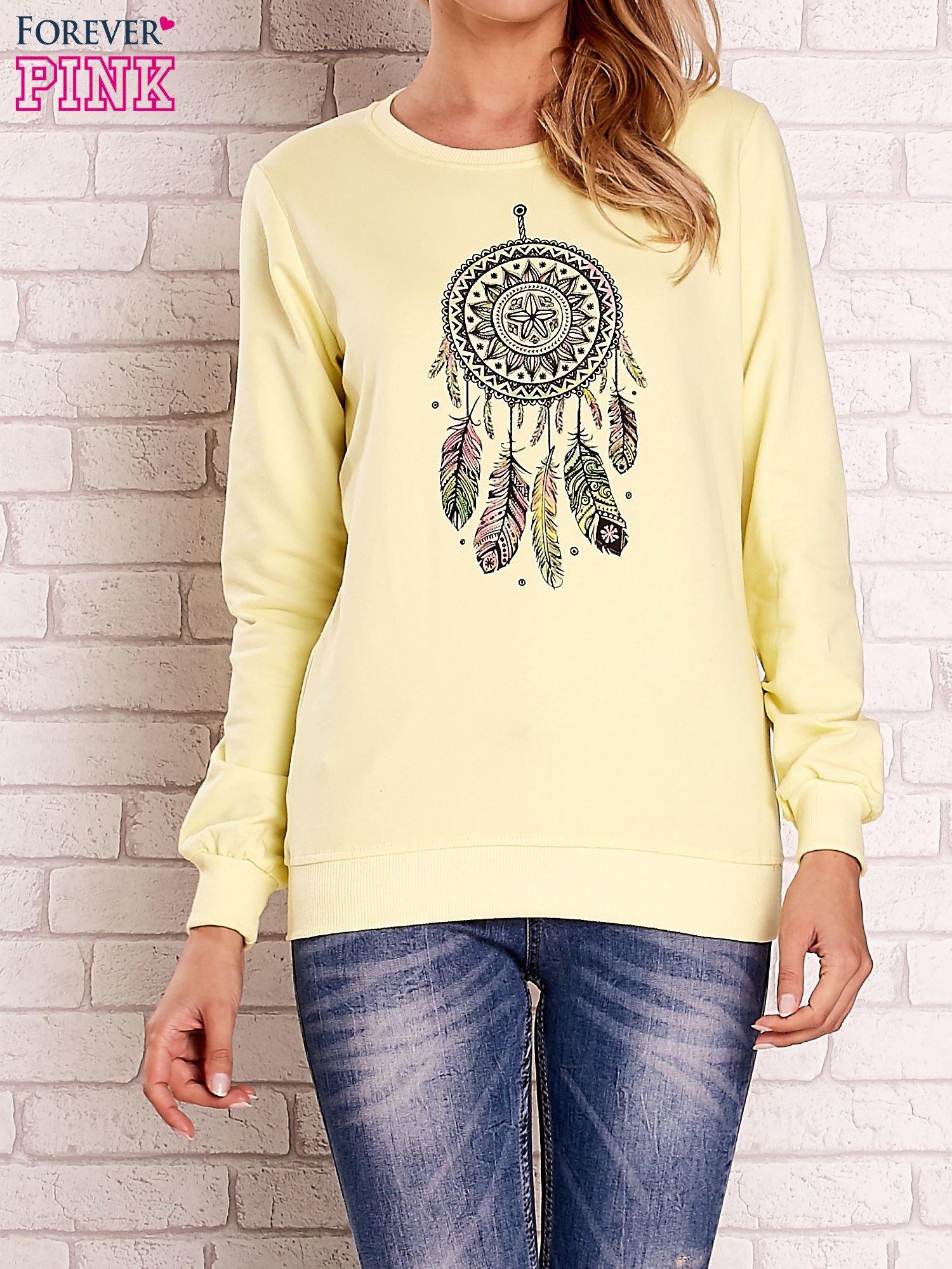 Żółta bluza z nadrukiem łapacza snów                                  zdj.                                  1