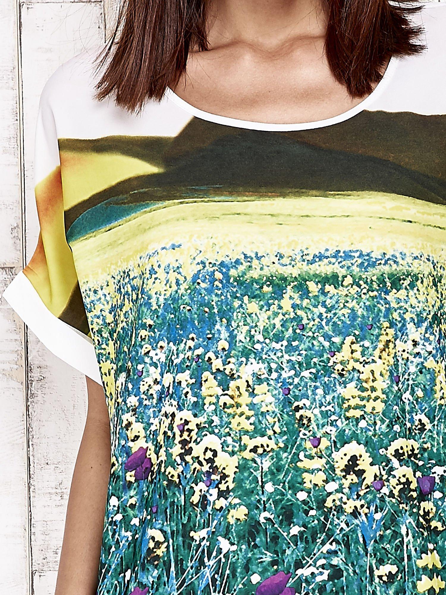 Żółta bluzka koszulowa z nadrukiem łąki                                   zdj.                                  3